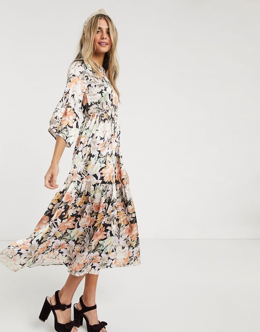 recognized brands cozy fresh pre order HOPE & IVY Kimono Ruffle Sleeve Ditsy Maxi Dress - We Select Dresses