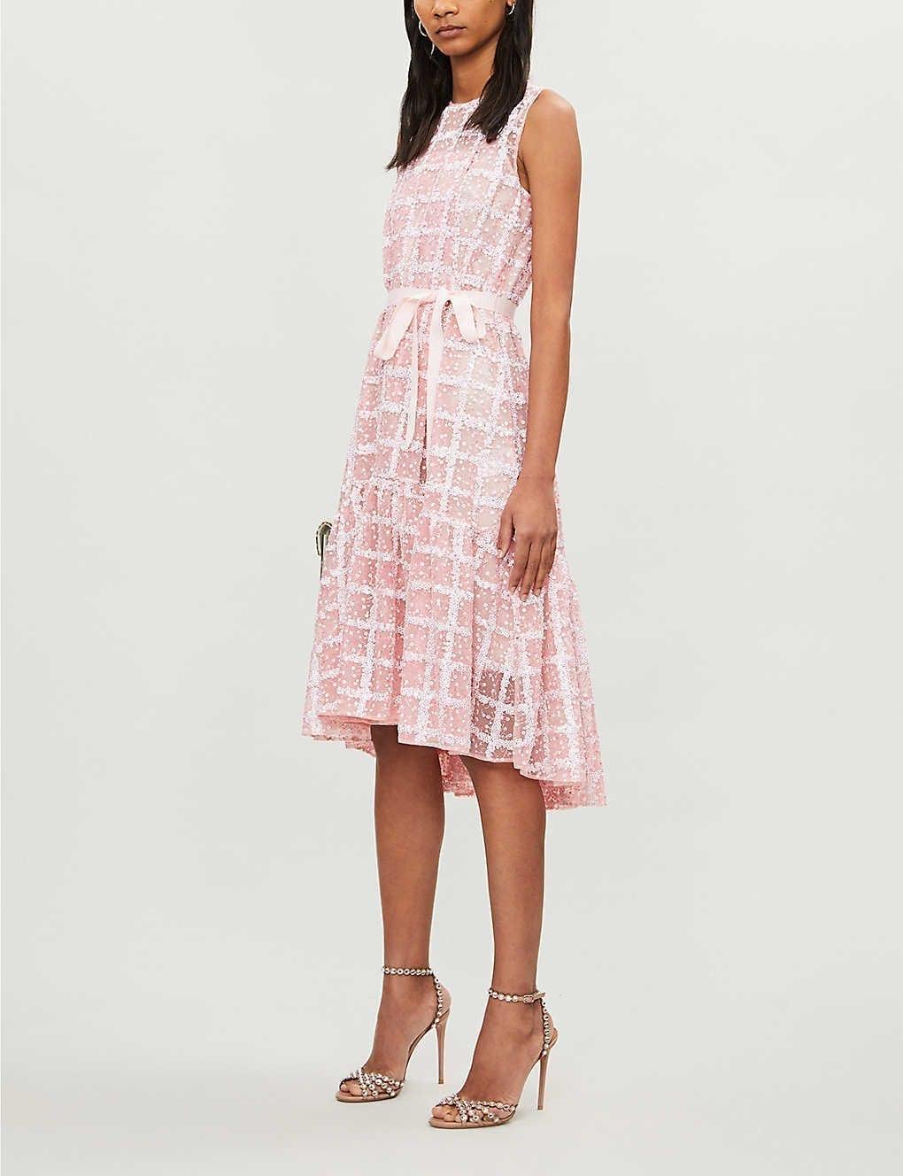HUISHAN ZHANG Daisy Checked Sequin-embellished Mesh Mini Dress