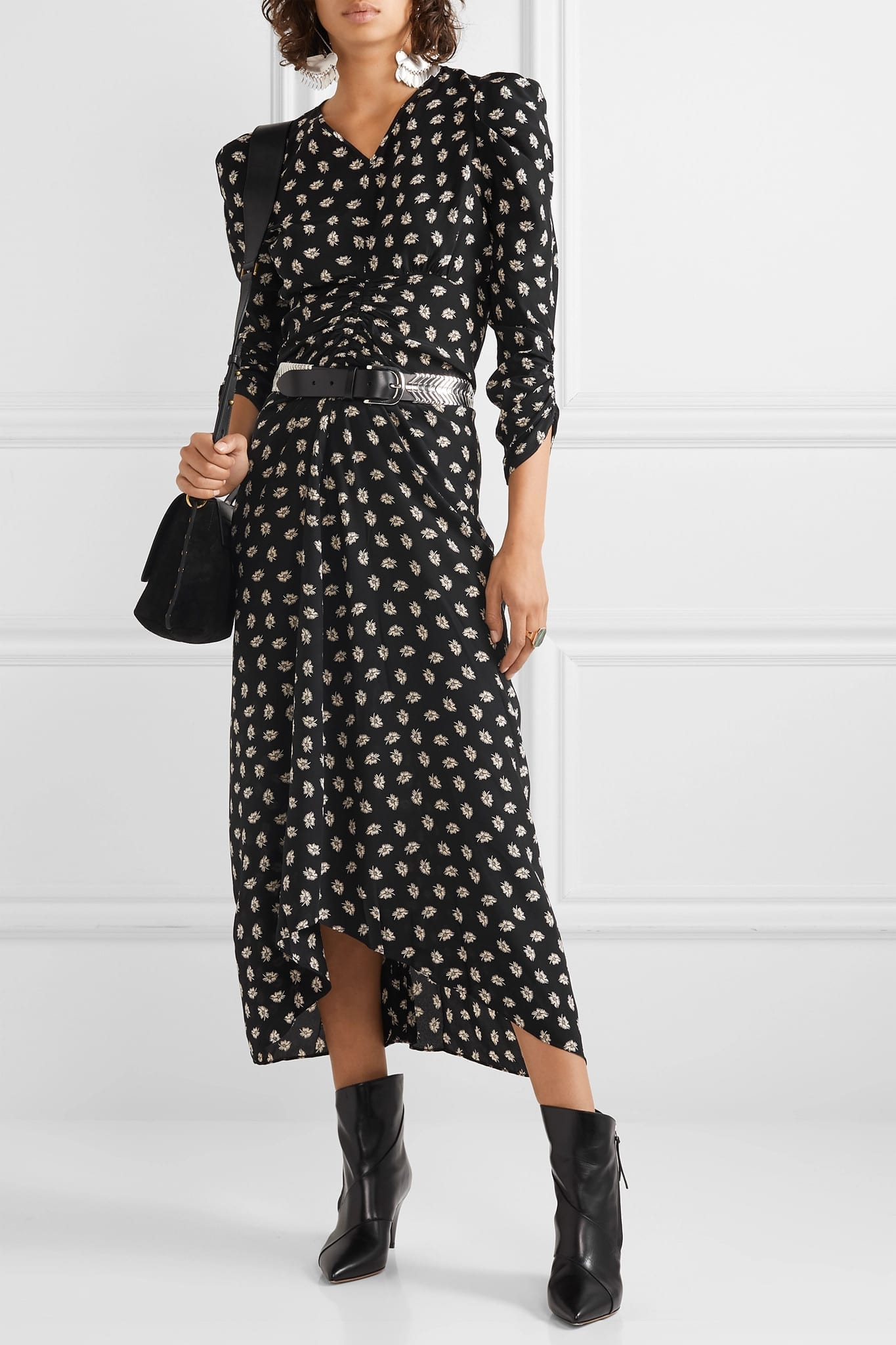 ISABEL MARANT Albi Ruched Floral-print Silk-crepe Midi Dress