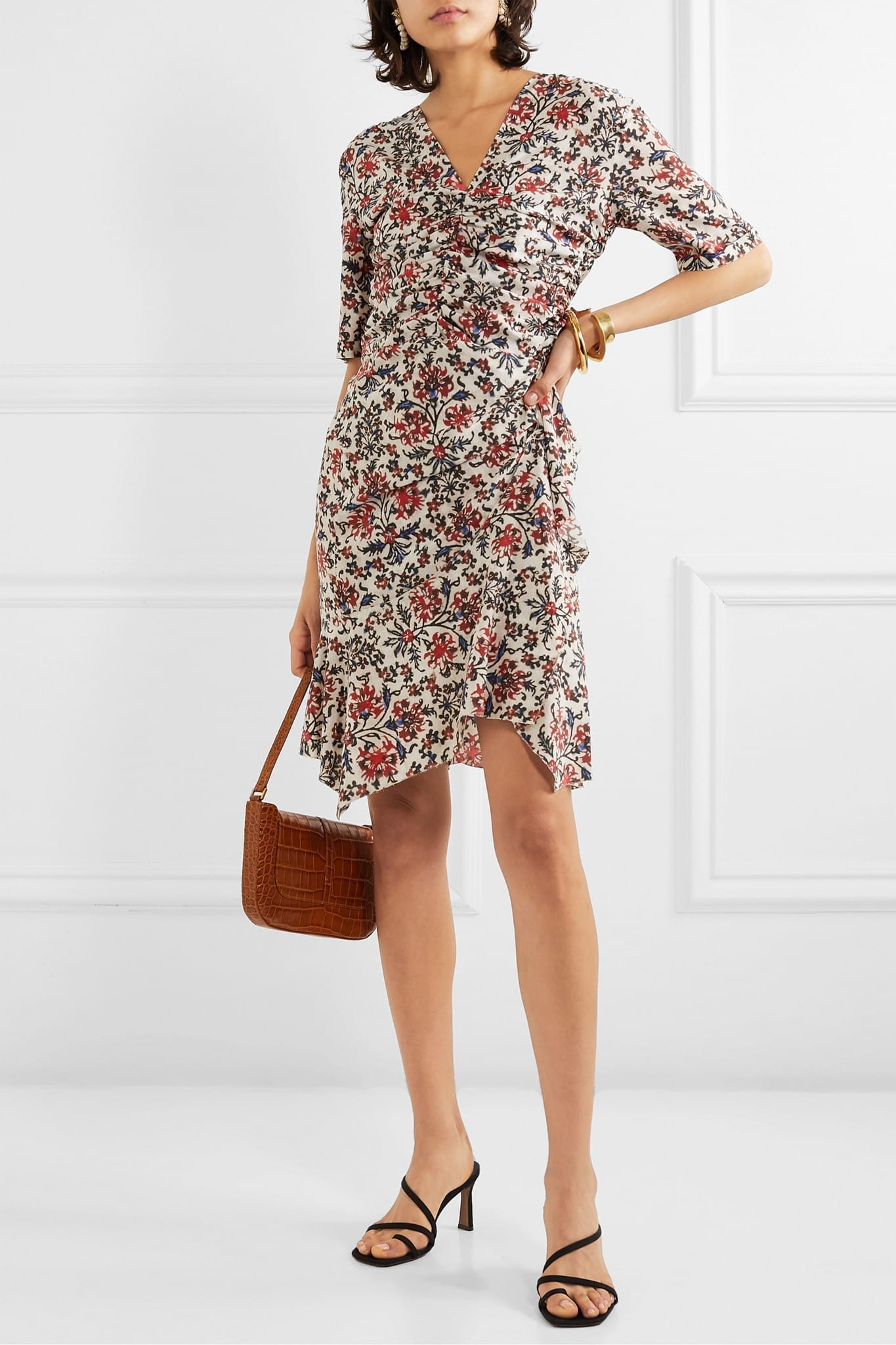 ISABEL MARANT Arodie Ruched Floral-print Silk-blend Crepe Dress
