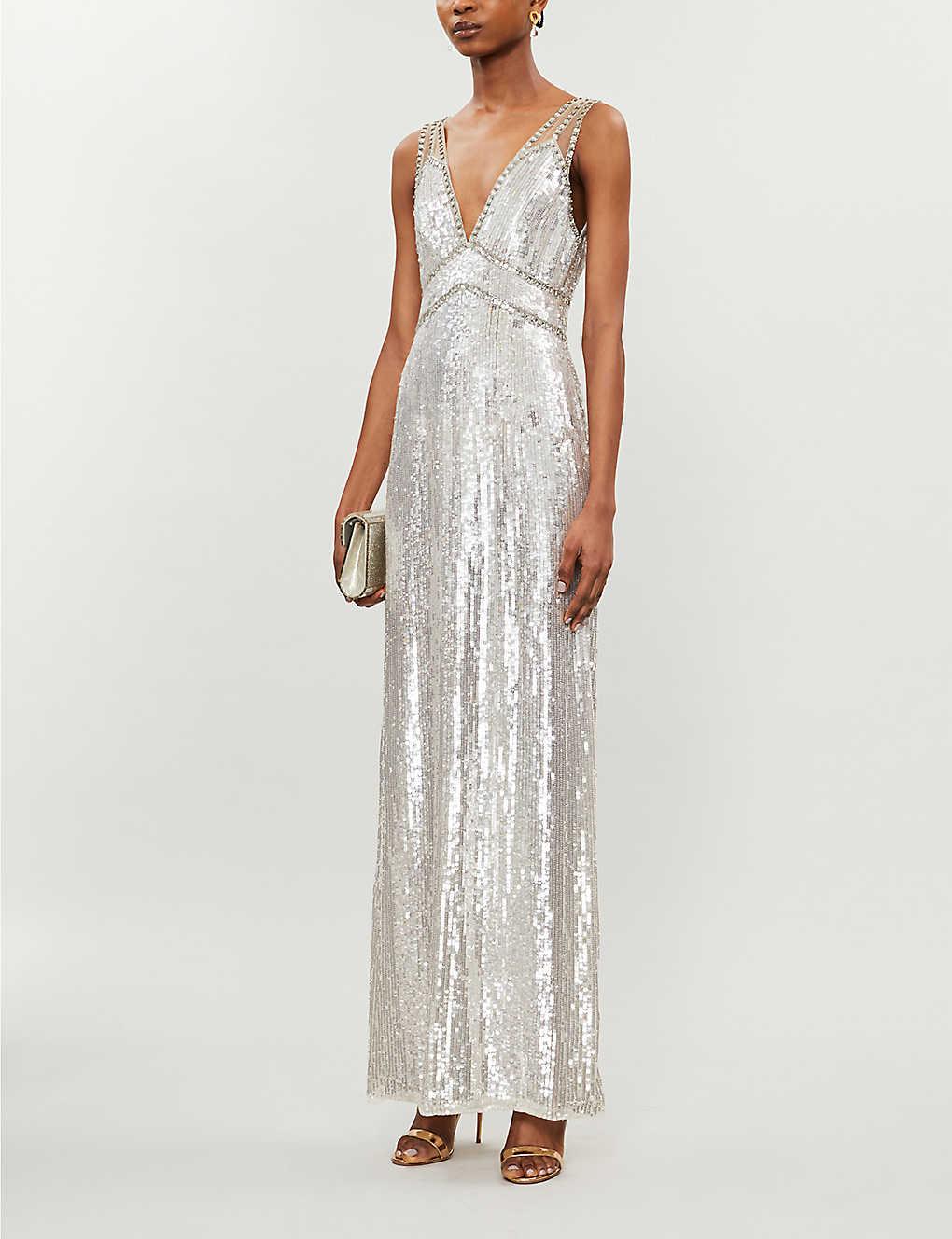 JENNY PACKHAM Valencia V-neck Embellished Gown