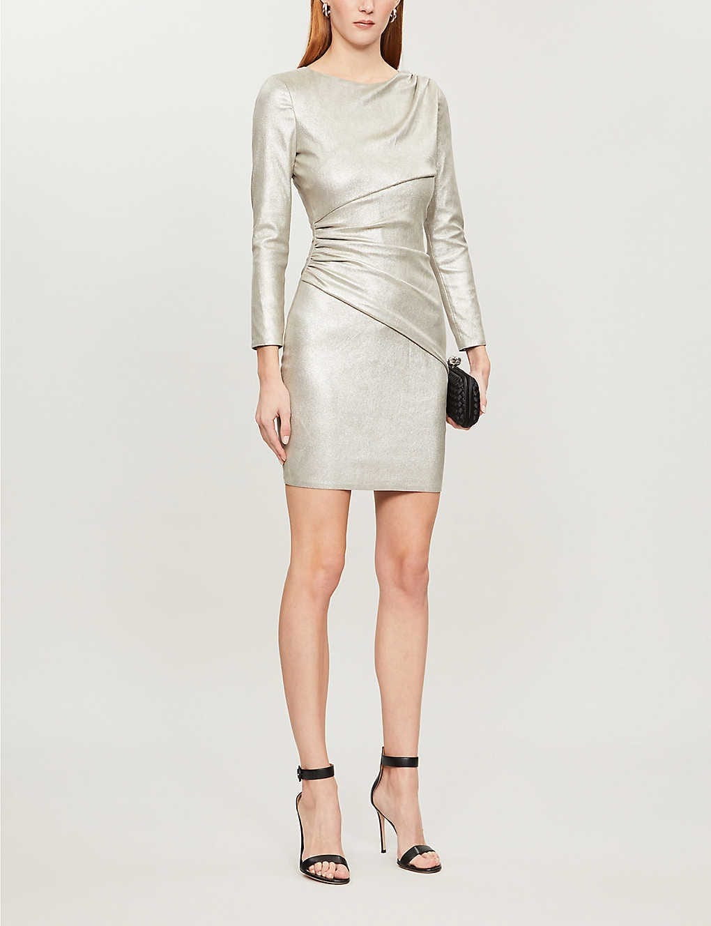 JITROIS Lily Metallic Ruched Leather Mini Dress