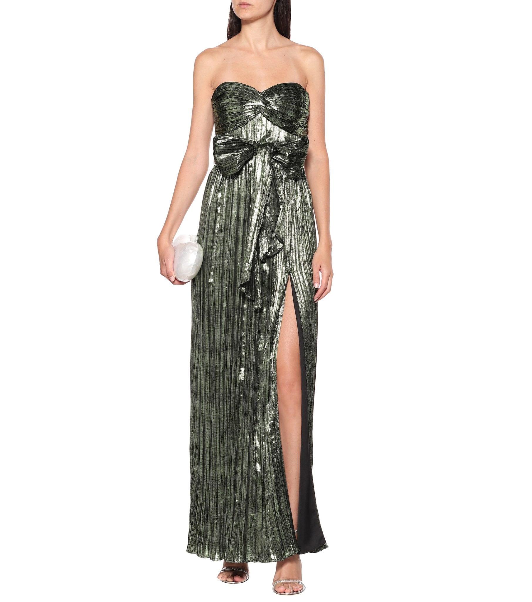 JONATHAN SIMKHAI Metallic Plissé Gown