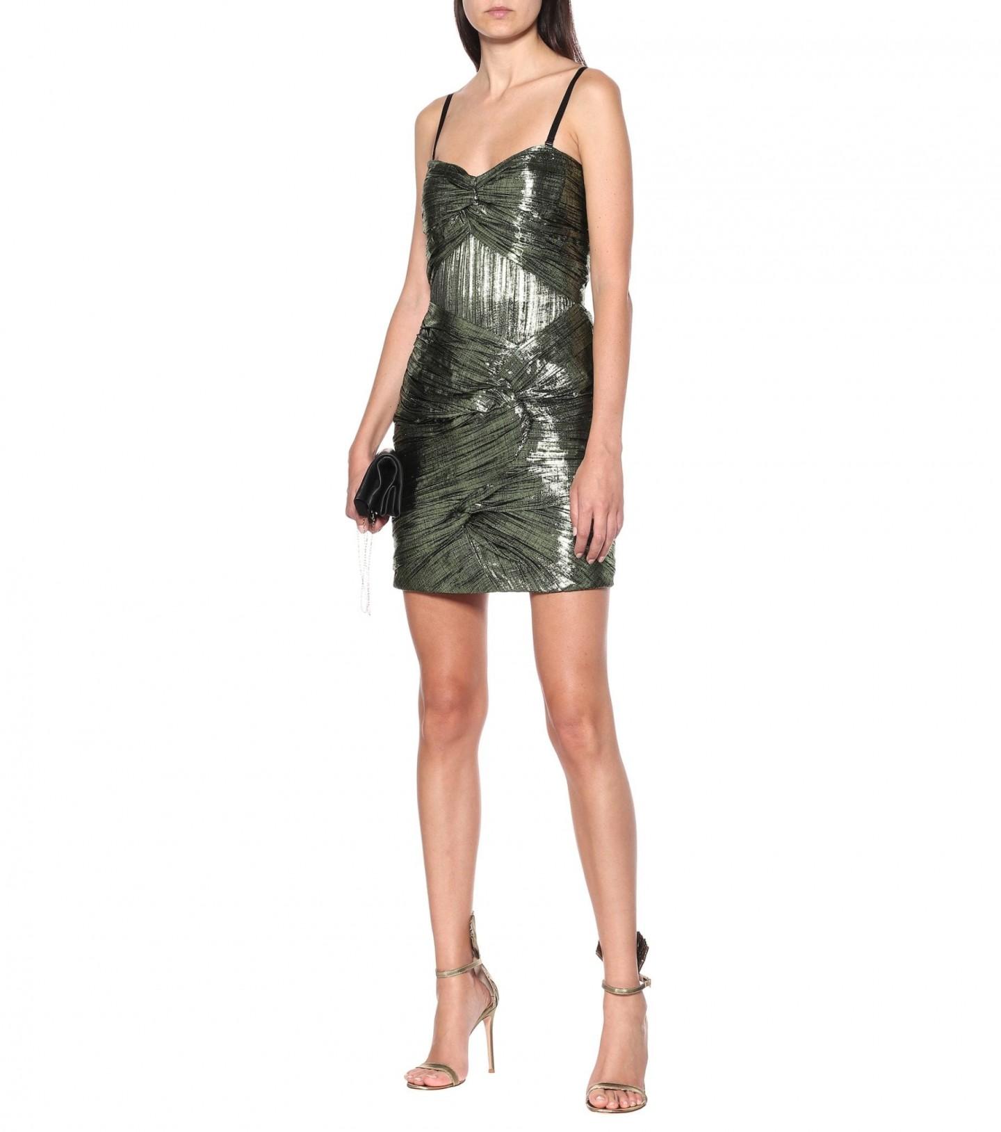 JONATHAN SIMKHAI Metallic Plissé Mini Dress