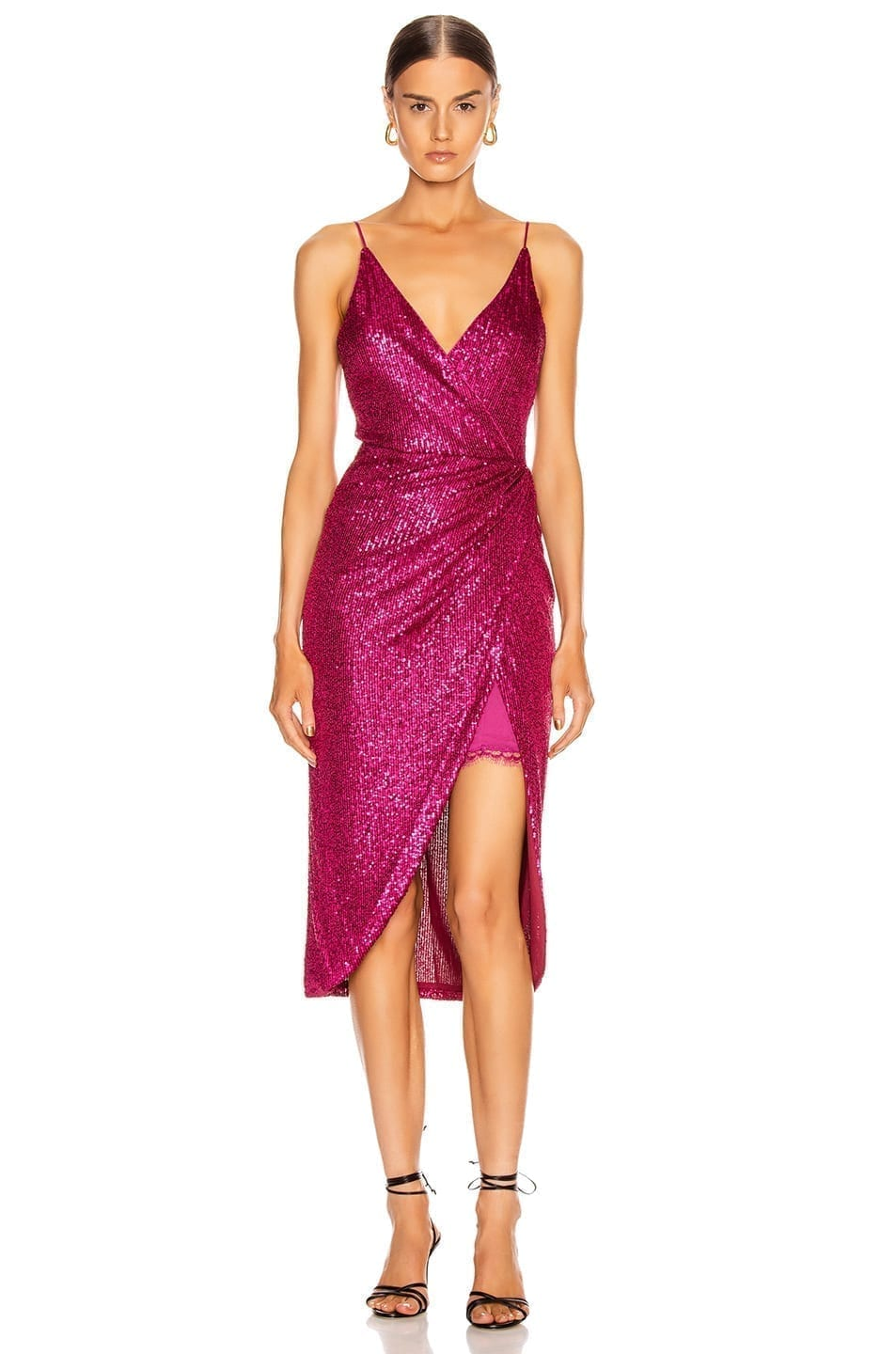 JONATHAN SIMKHAI Sequin Cami Wrap Dress