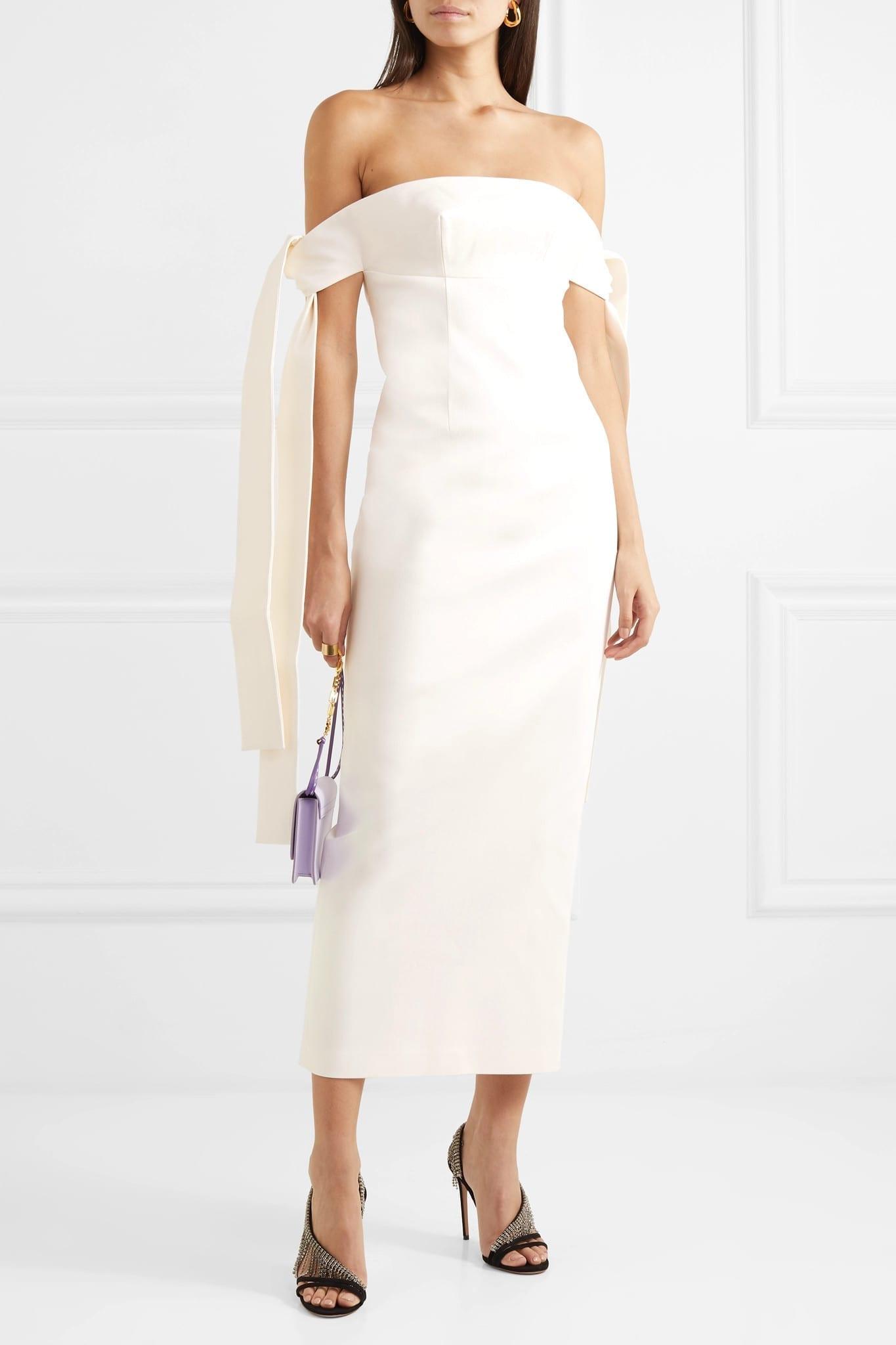 LADO BOKUCHAVA Off-the-shoulder Draped Cotton-twill Midi Dress