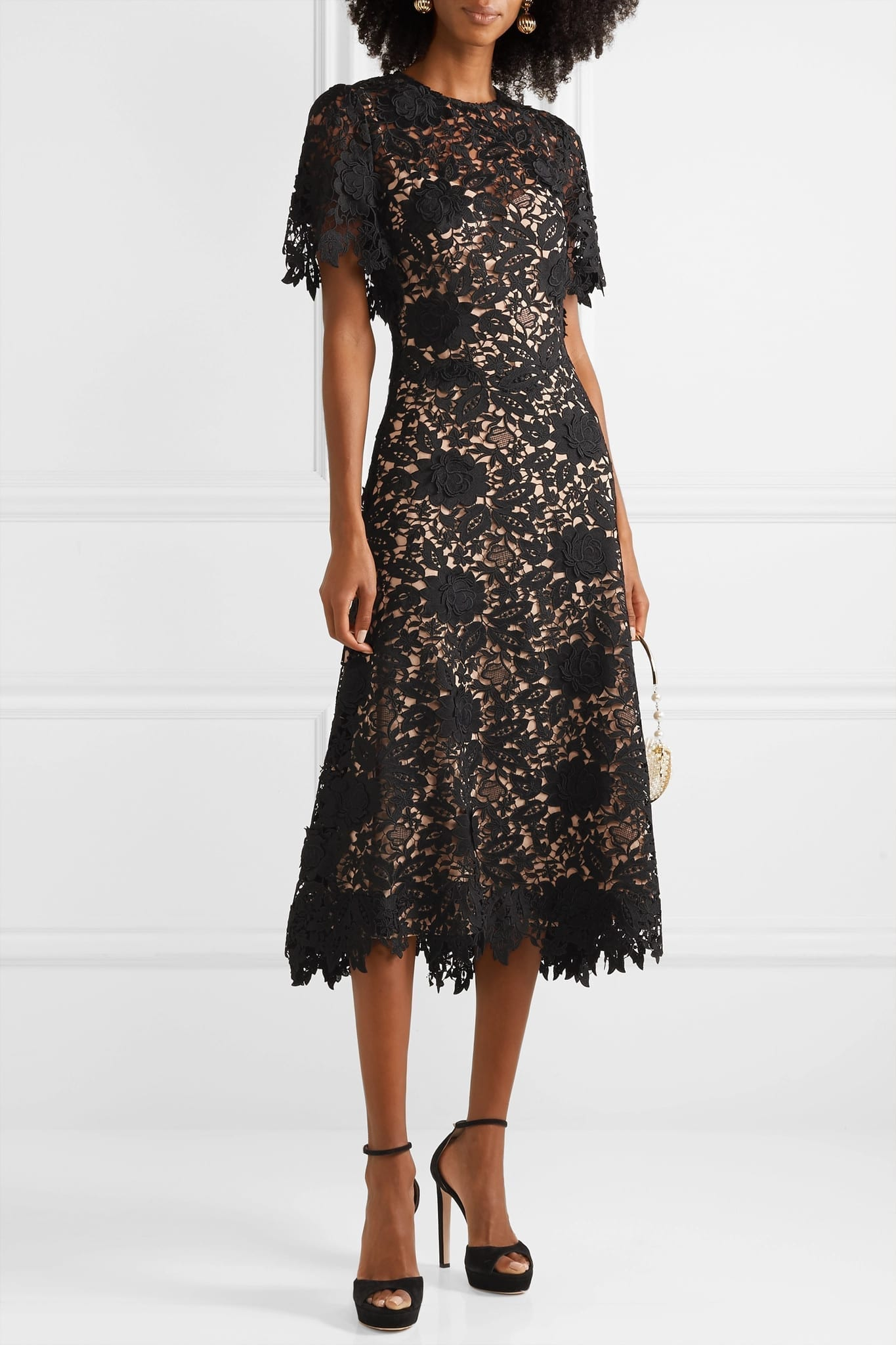LELA ROSE Embroidered Guipure Lace Midi Dress