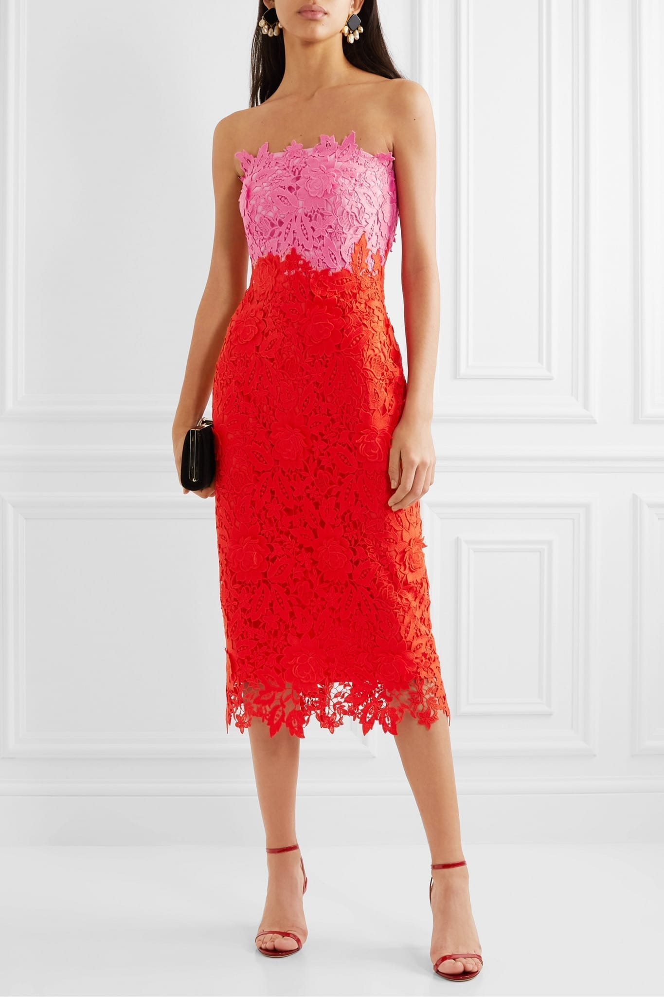 LELA ROSE Strapless Two-tone Guipure Lace Midi Dress