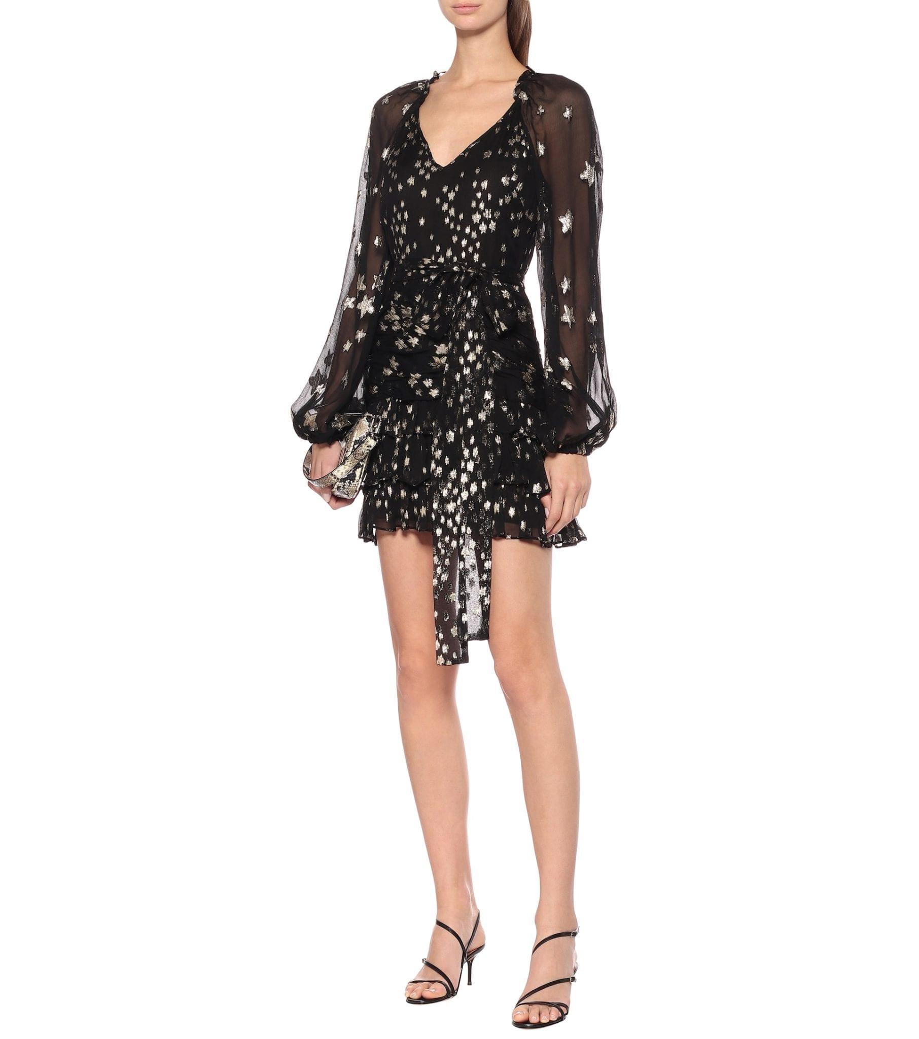 LOVESHACKFANCY Rina Metallic Silk Mini Dress