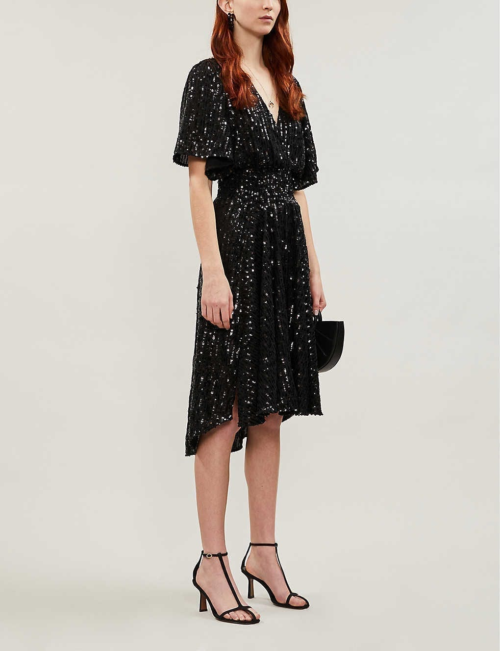 MAJE Sequin-embellished Midi Dress