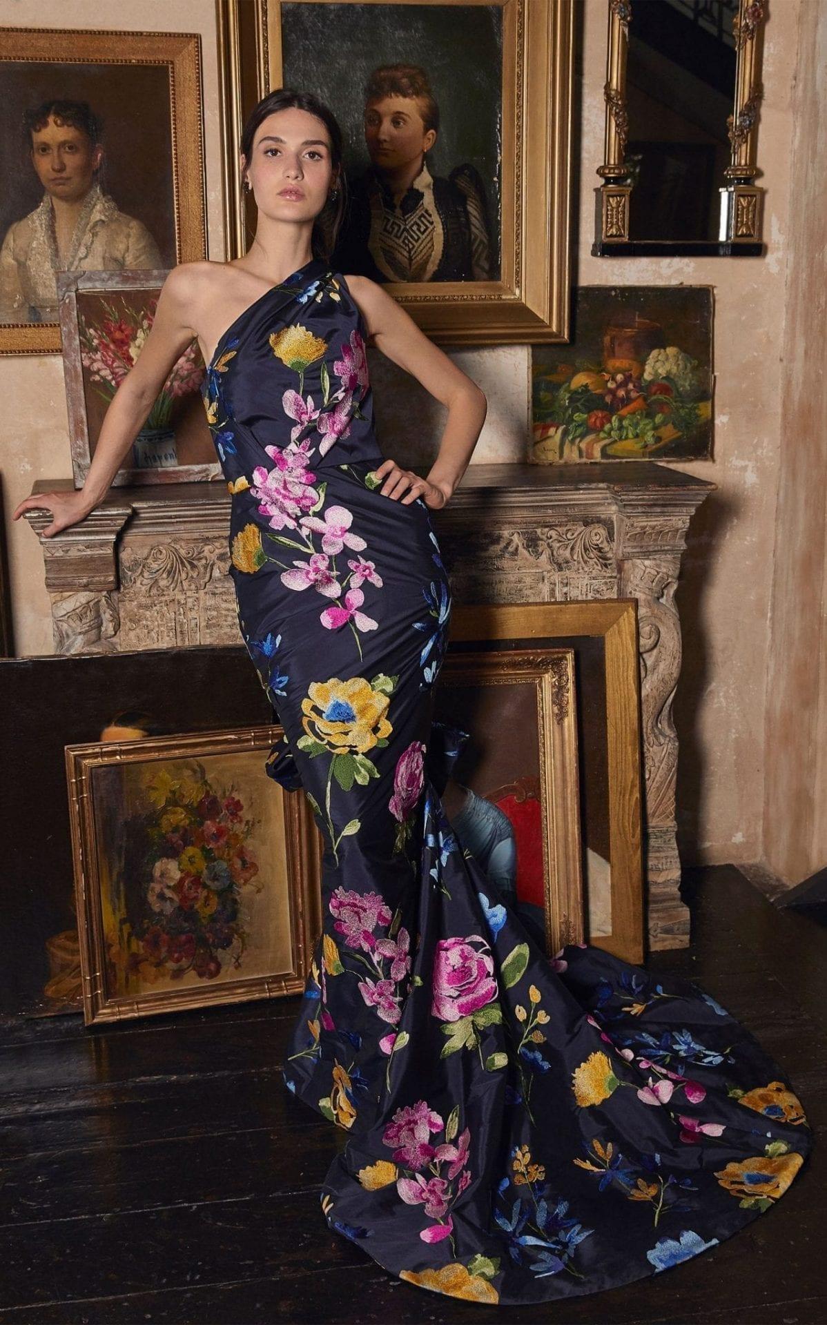 MARCHESA Bow-Embellished Floral-Print Taffeta Gown