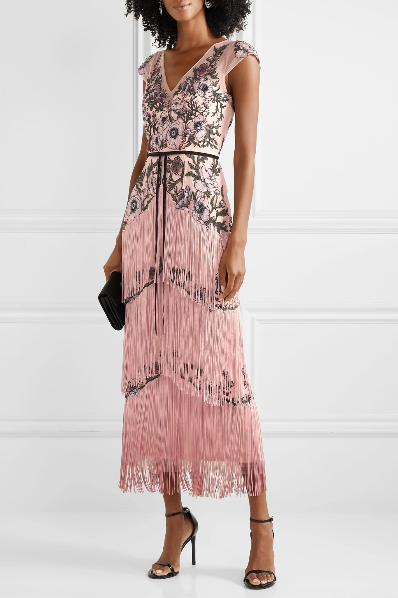 MARCHESA NOTTE Fringed Embellished Embroidered Tulle Midi Dress