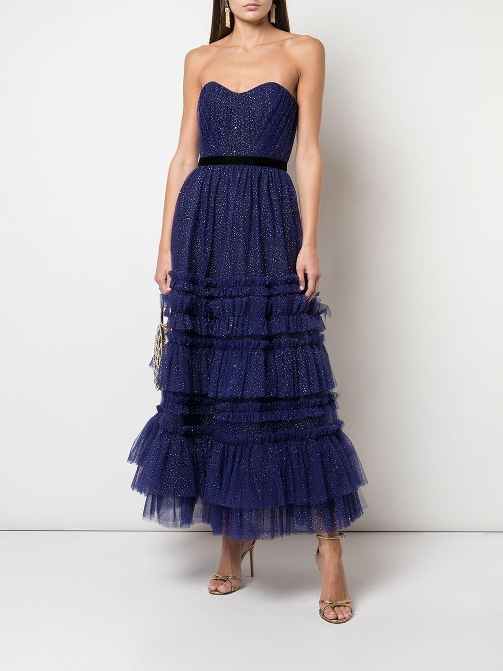 MARCHESA NOTTE Glitter Ruffle Gown