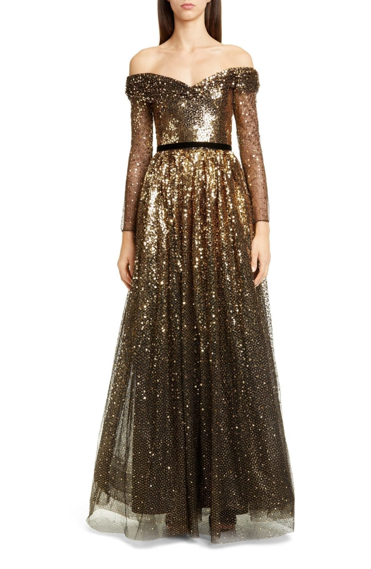 MARCHESA NOTTE Off The Shoulder Long Sleeve Ombré Sequin Gown