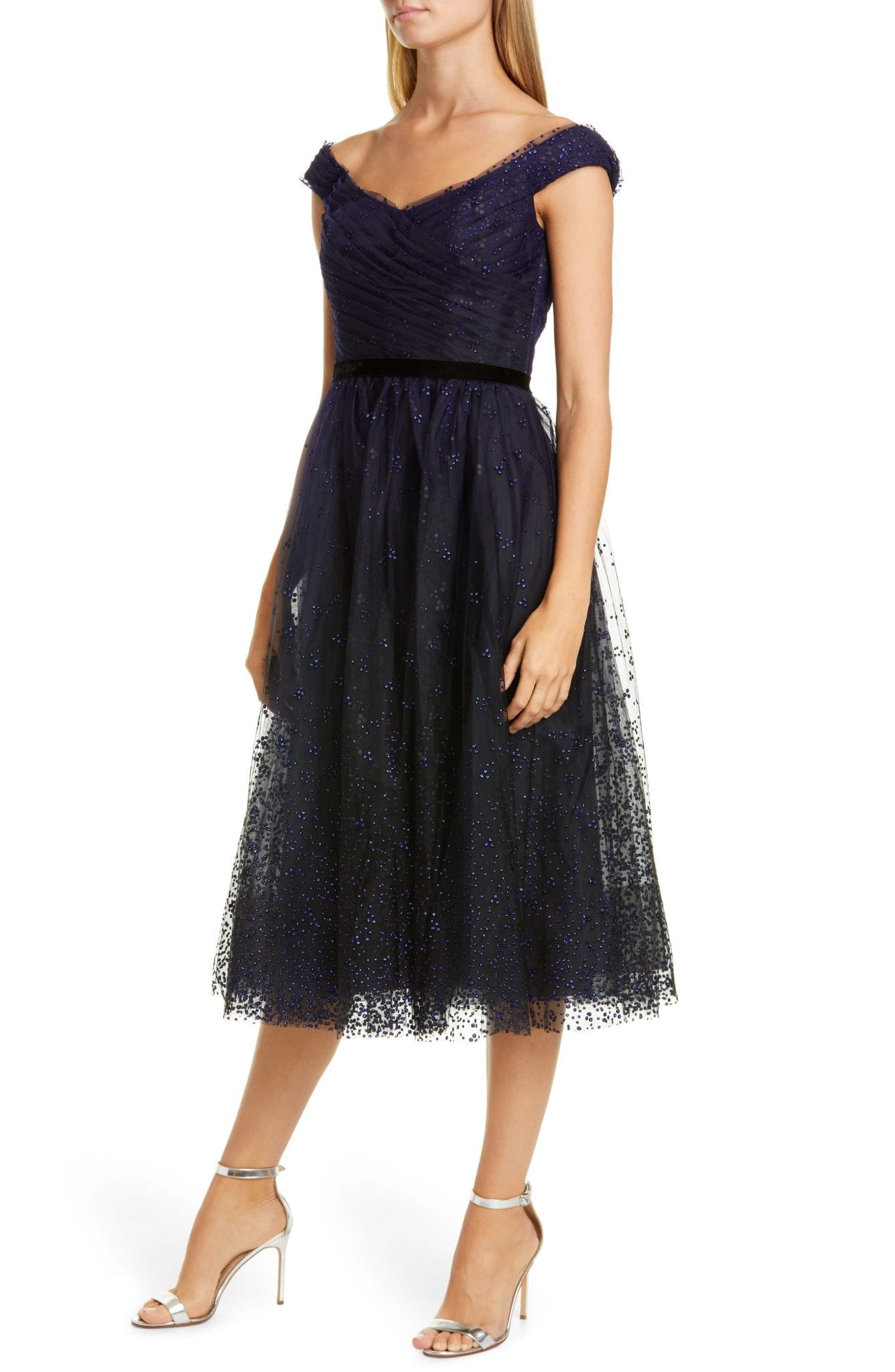 MARCHESA NOTTE Off The Shoulder Tulle Cocktail Dress