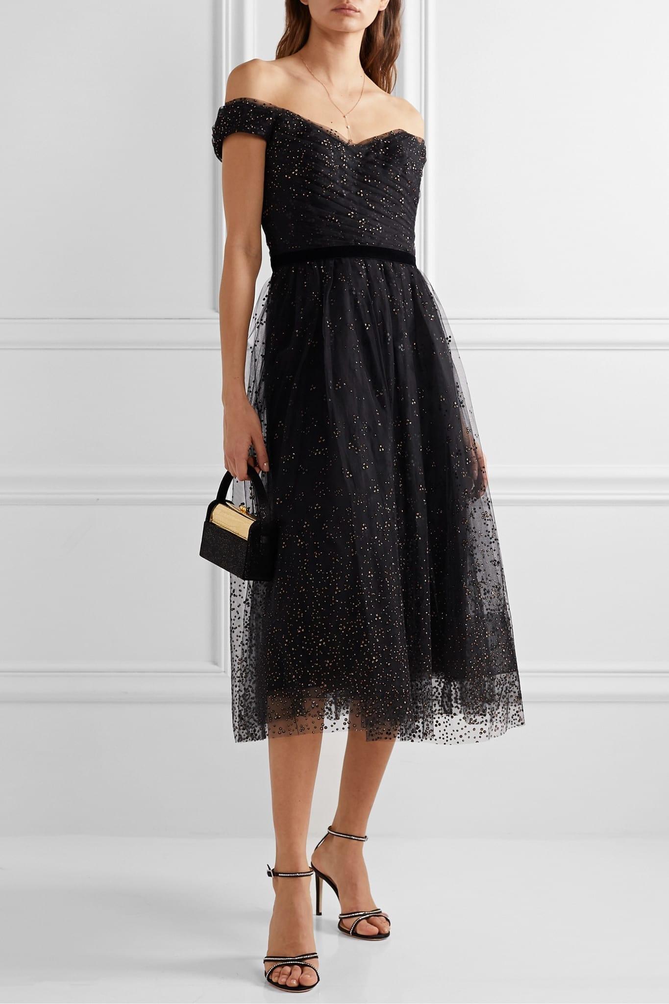 MARCHESA NOTTE Fringed Embellished Embroidered Tulle Midi Dress
