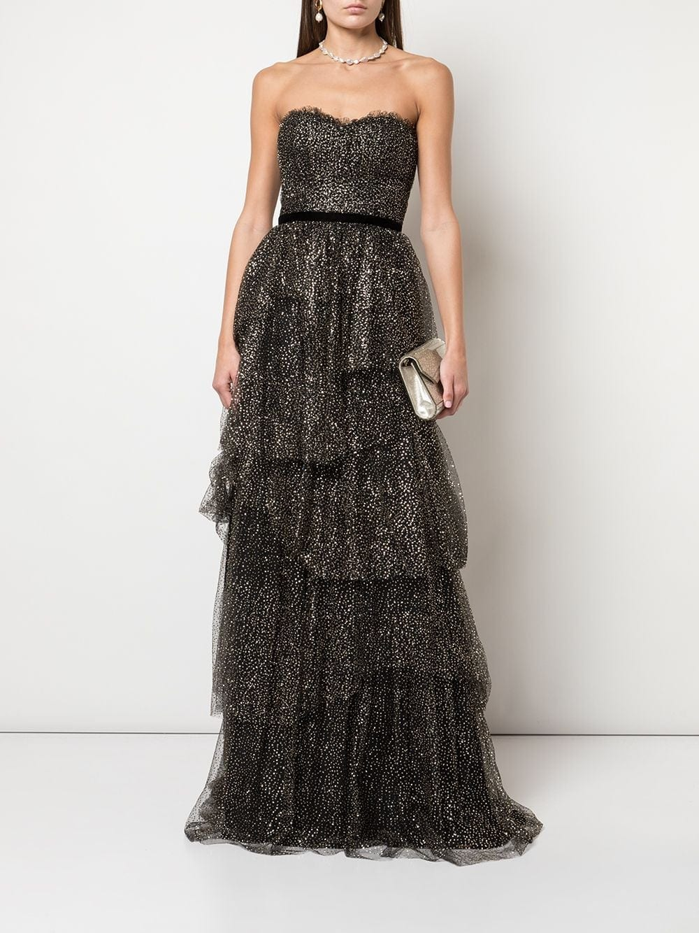 MARCHESA NOTTE Ruffled Tiered Strapless Gown