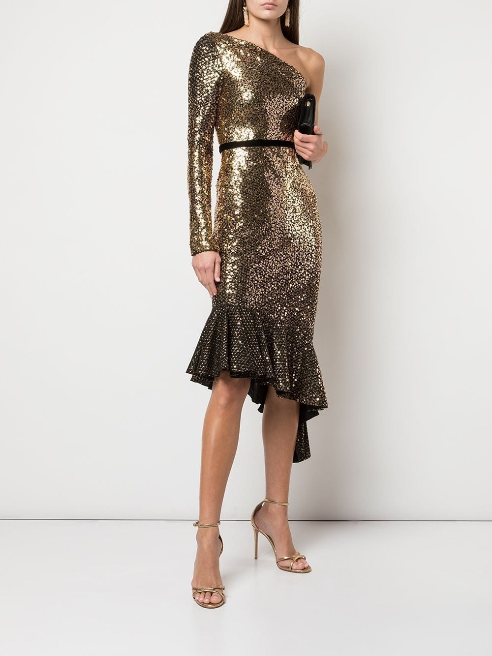 MARCHESA NOTTE Sequinned Ruffle Asymmetric Dress