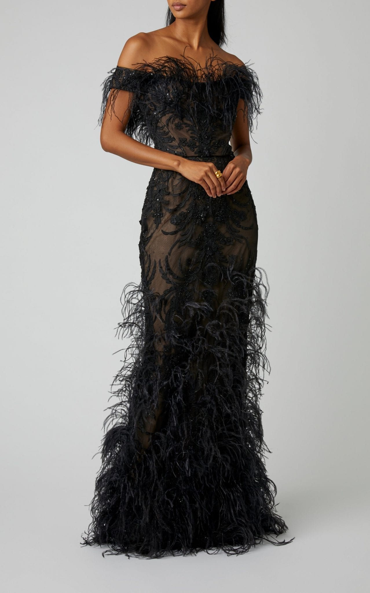 MARCHESA Ostrich Feather-Embellished Organza Gown