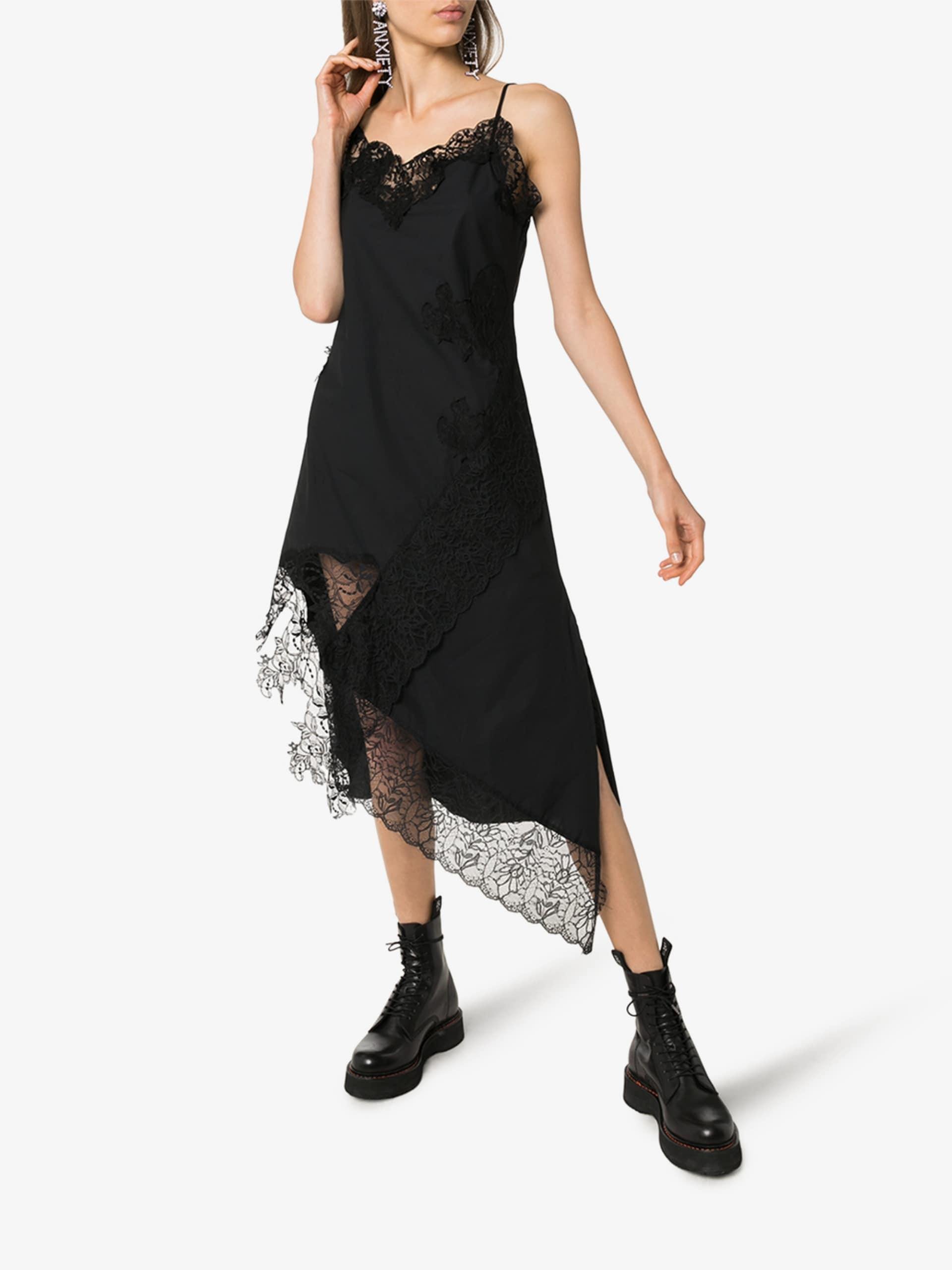 MARQUES'ALMEIDA Lace Trim Cotton Slip Dress