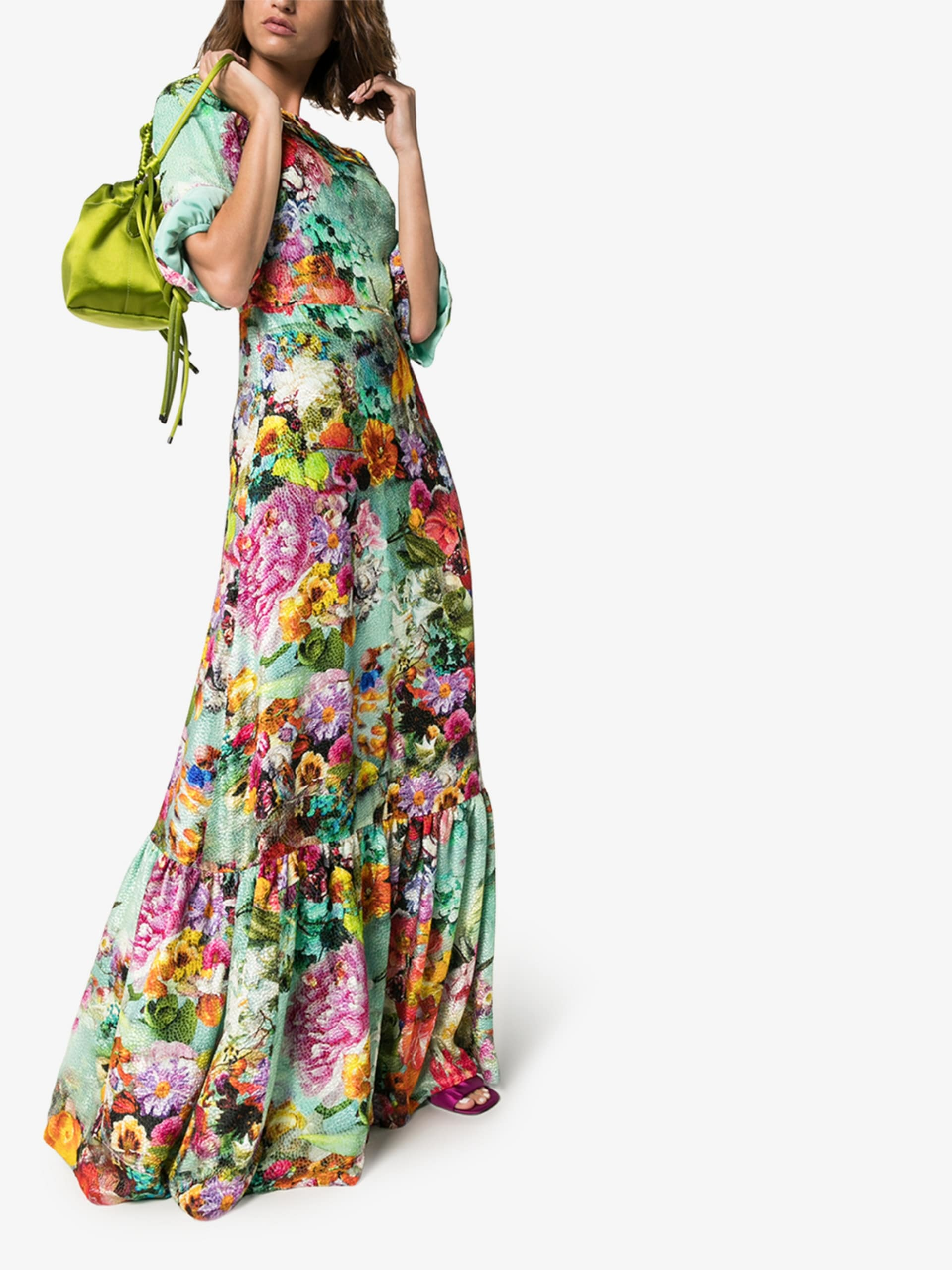 MARY KATRANTZOU Floral Print Frill Detail Dress