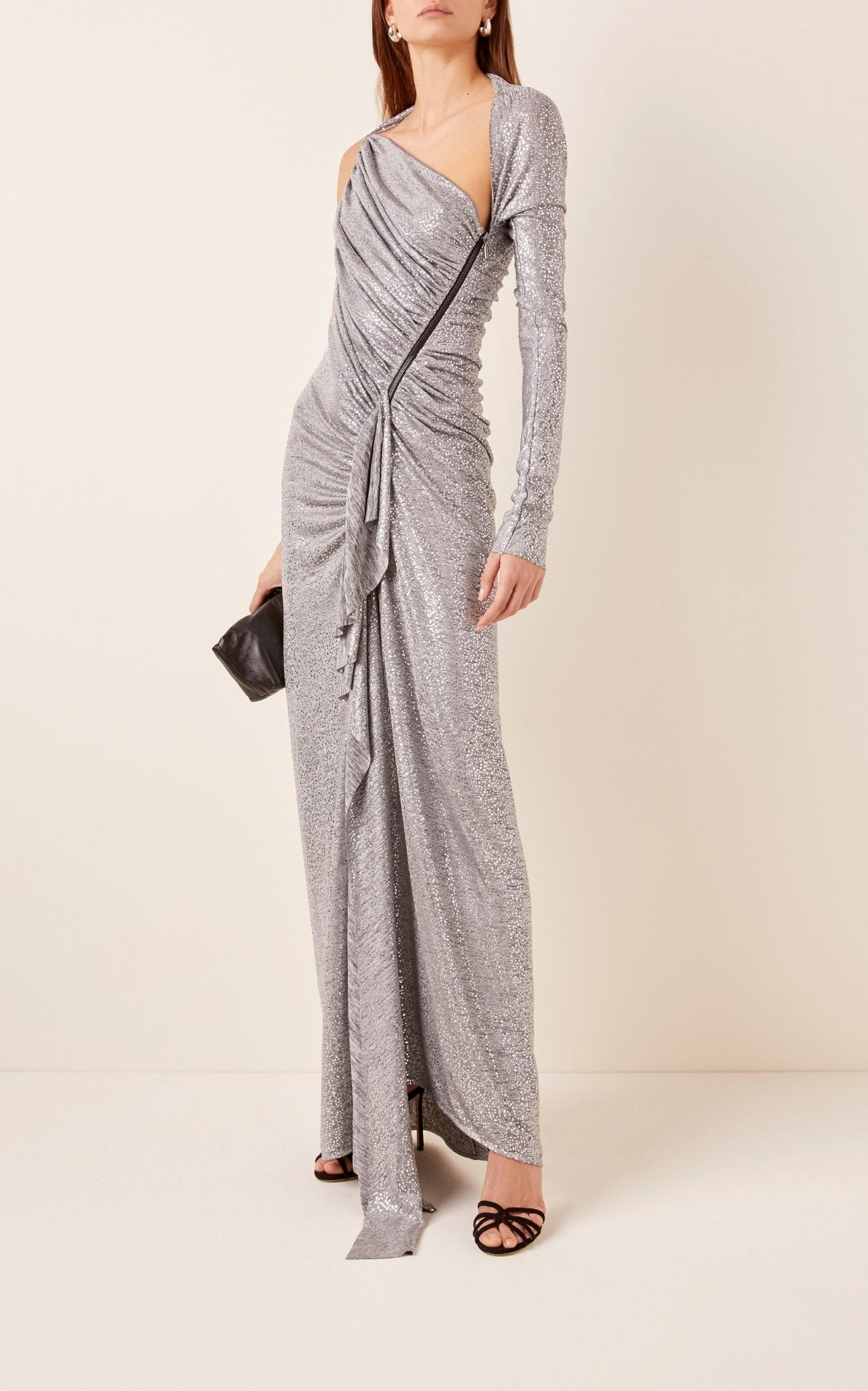 MATICEVSKI Arousal Asymmetric Ruched Metallic Stretch-Jersey Gown