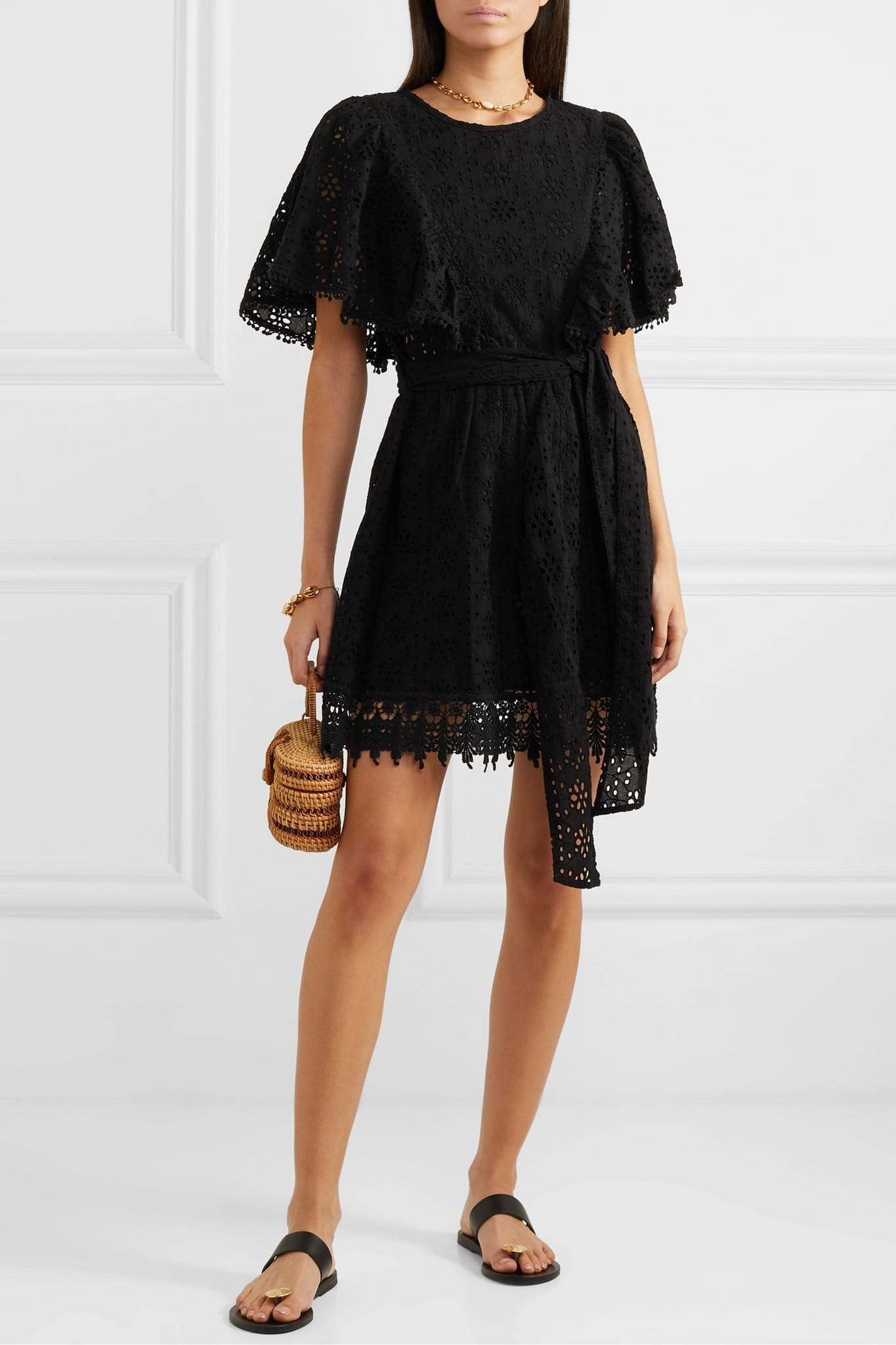 MELISSA ODABASH Kara Ruffled Broderie Anglaise Cotton Mini Dress