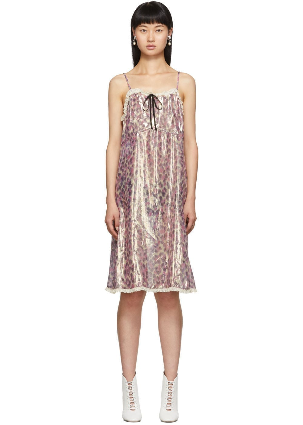 MIU MIU Pink Silk Chiffon Print Dress