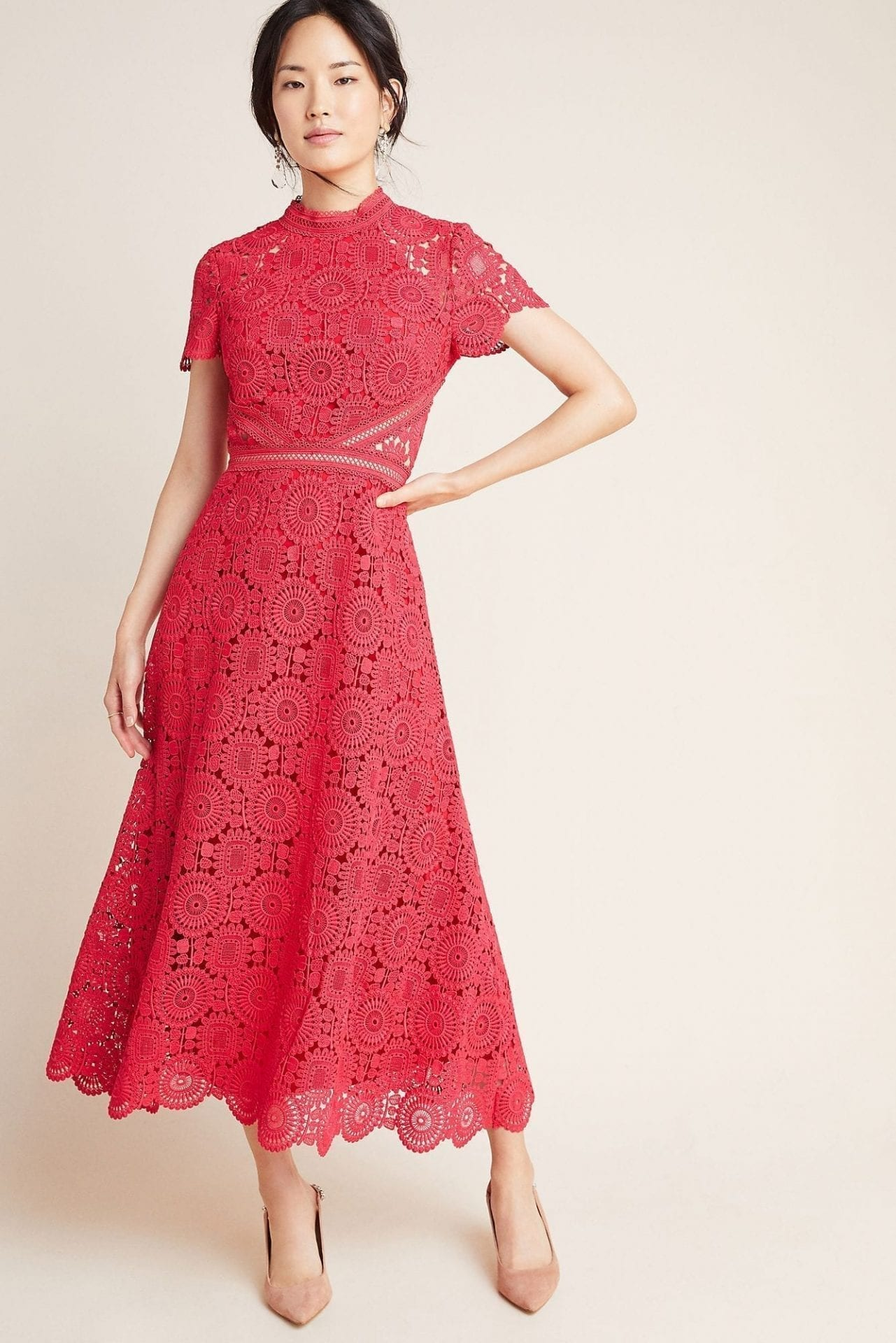 ML MONIQUE LHUILLIER Luisa Lace Maxi Dress