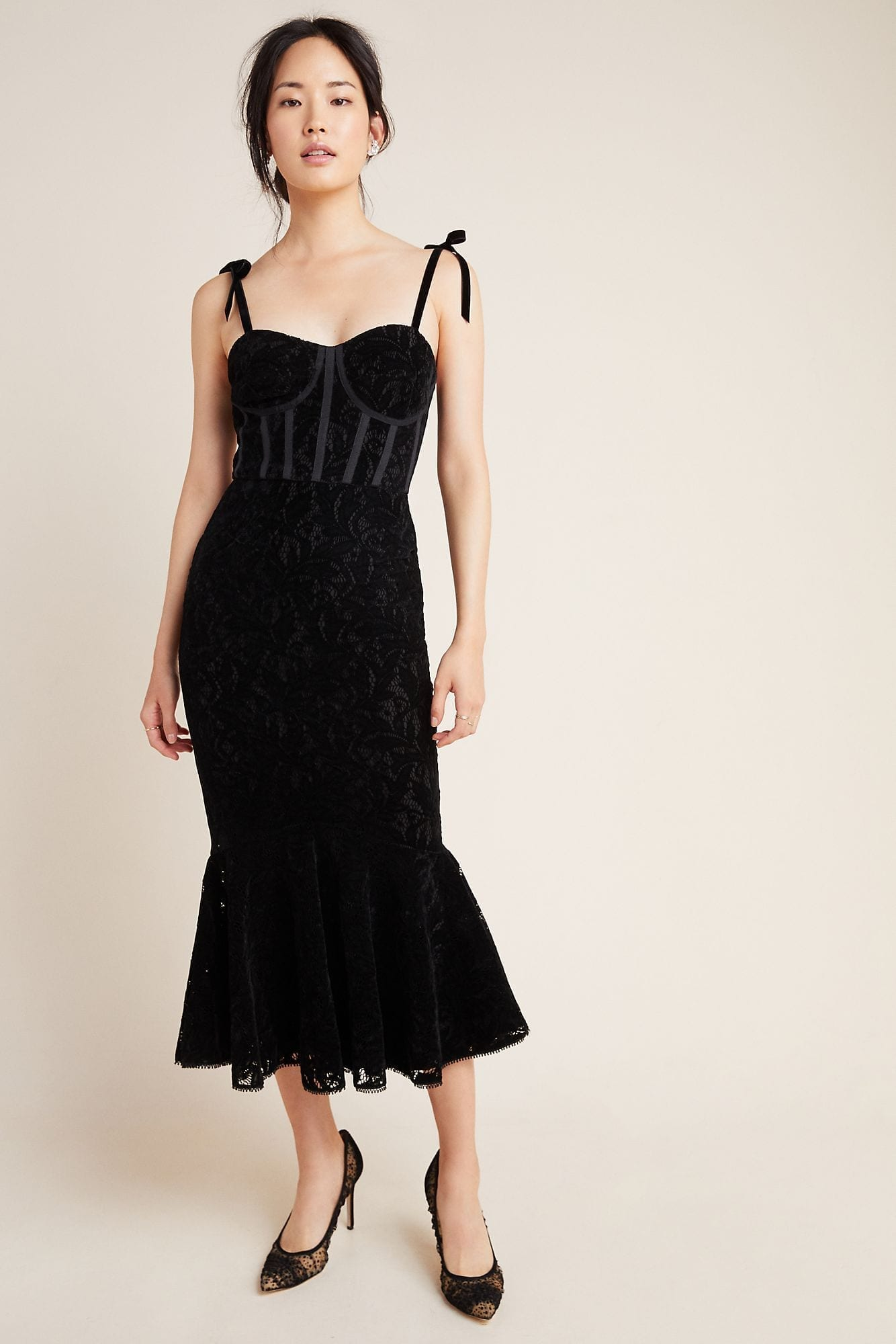 ML MONIQUE LHUILLIER Velvet Maxi Dress