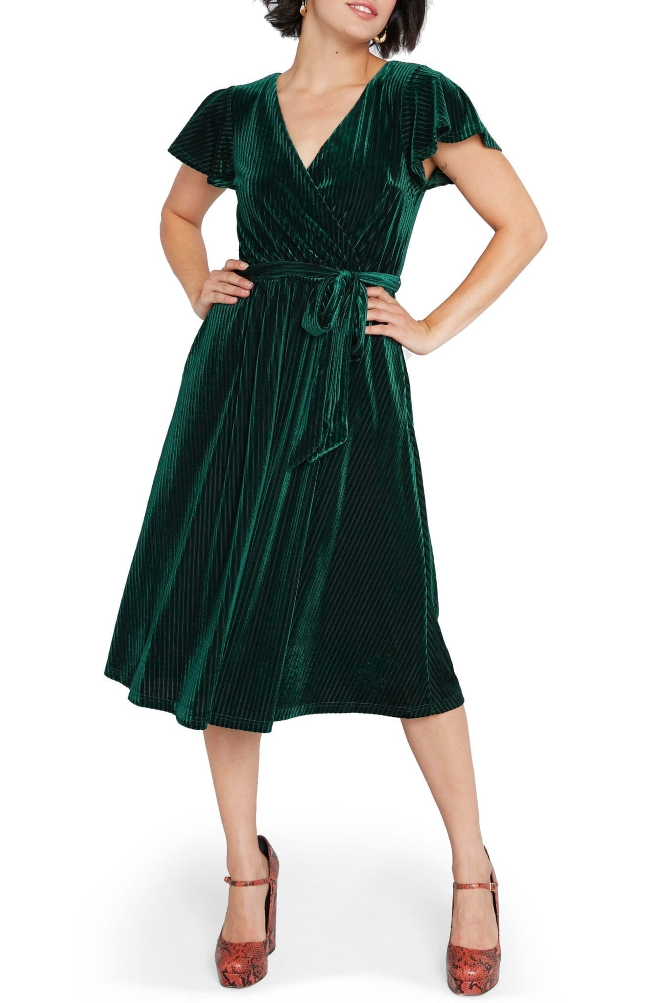 MODCLOTH Faux Wrap Velvet Dress
