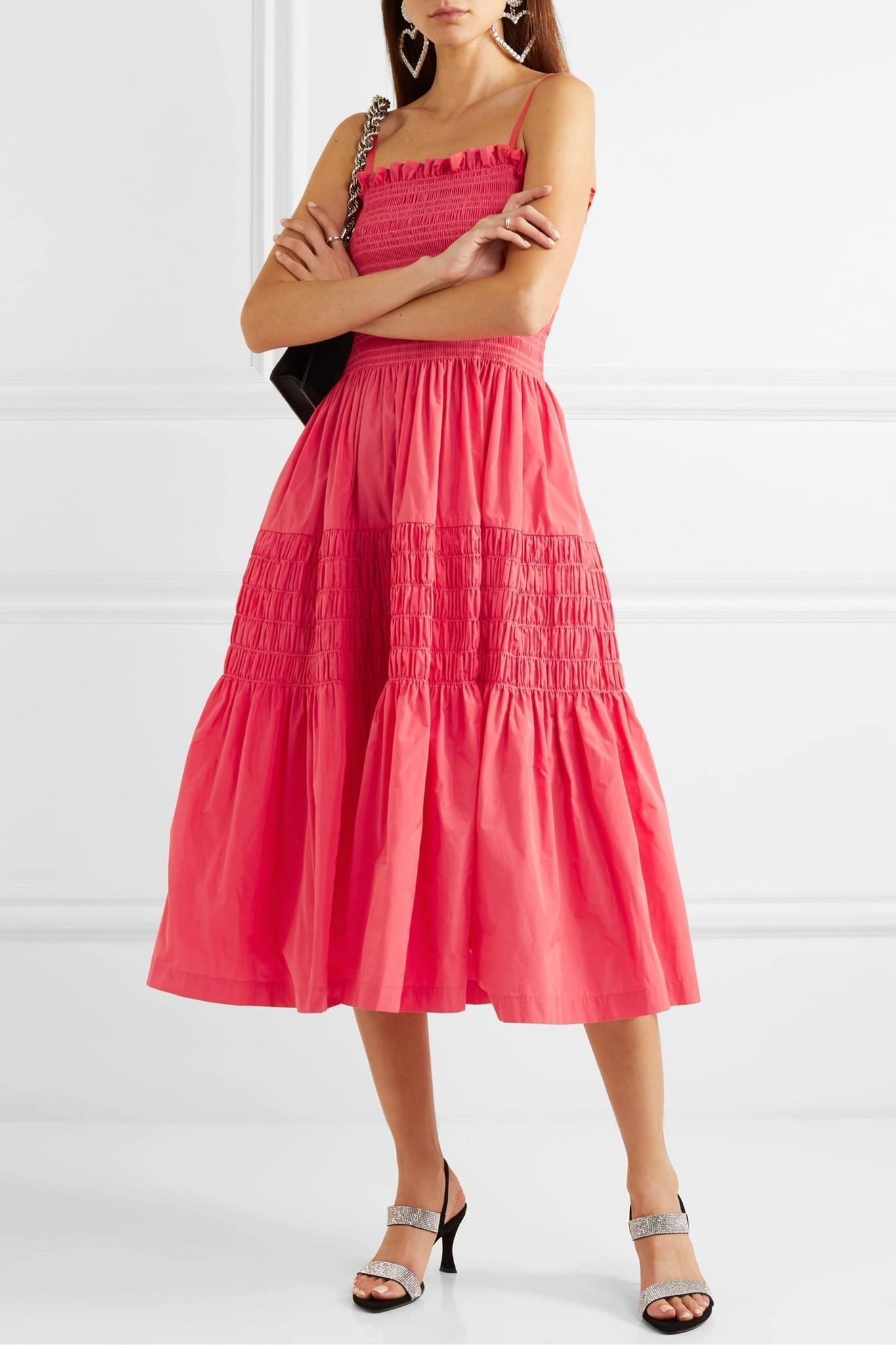 MOLLY GODDARD Tiered Shirred Taffeta Midi Dress