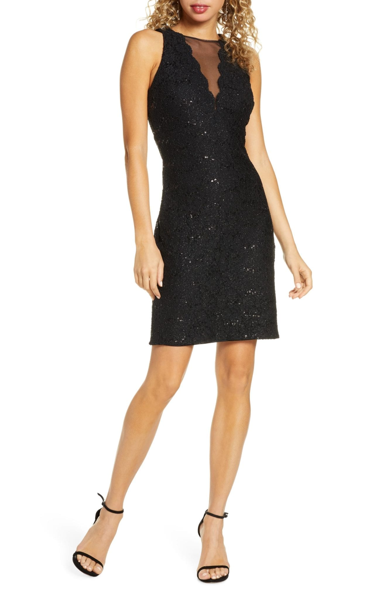 MORGAN & CO. Lace & Sequin Cocktail Dress