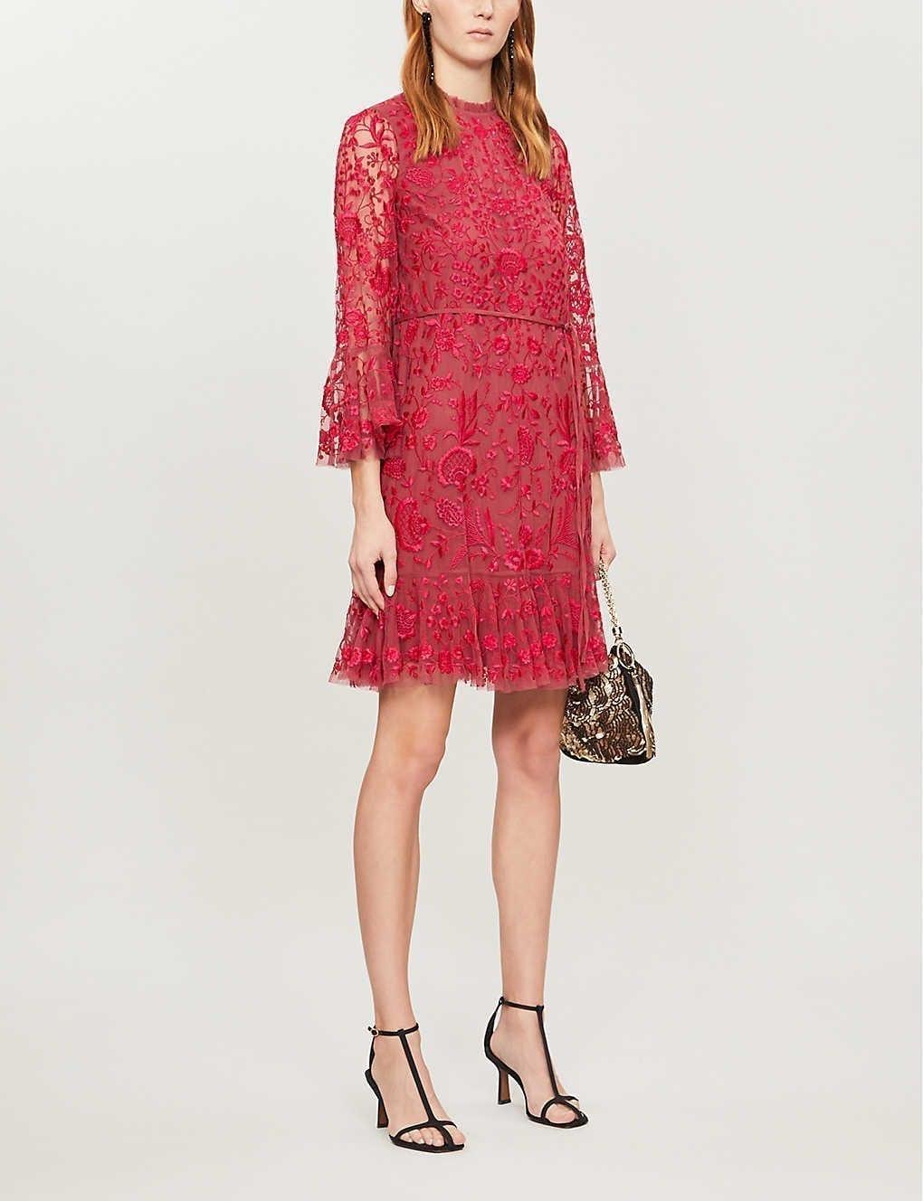 NEEDLE AND THREAD Demetria Floral-embroidered Mesh Mini Dress