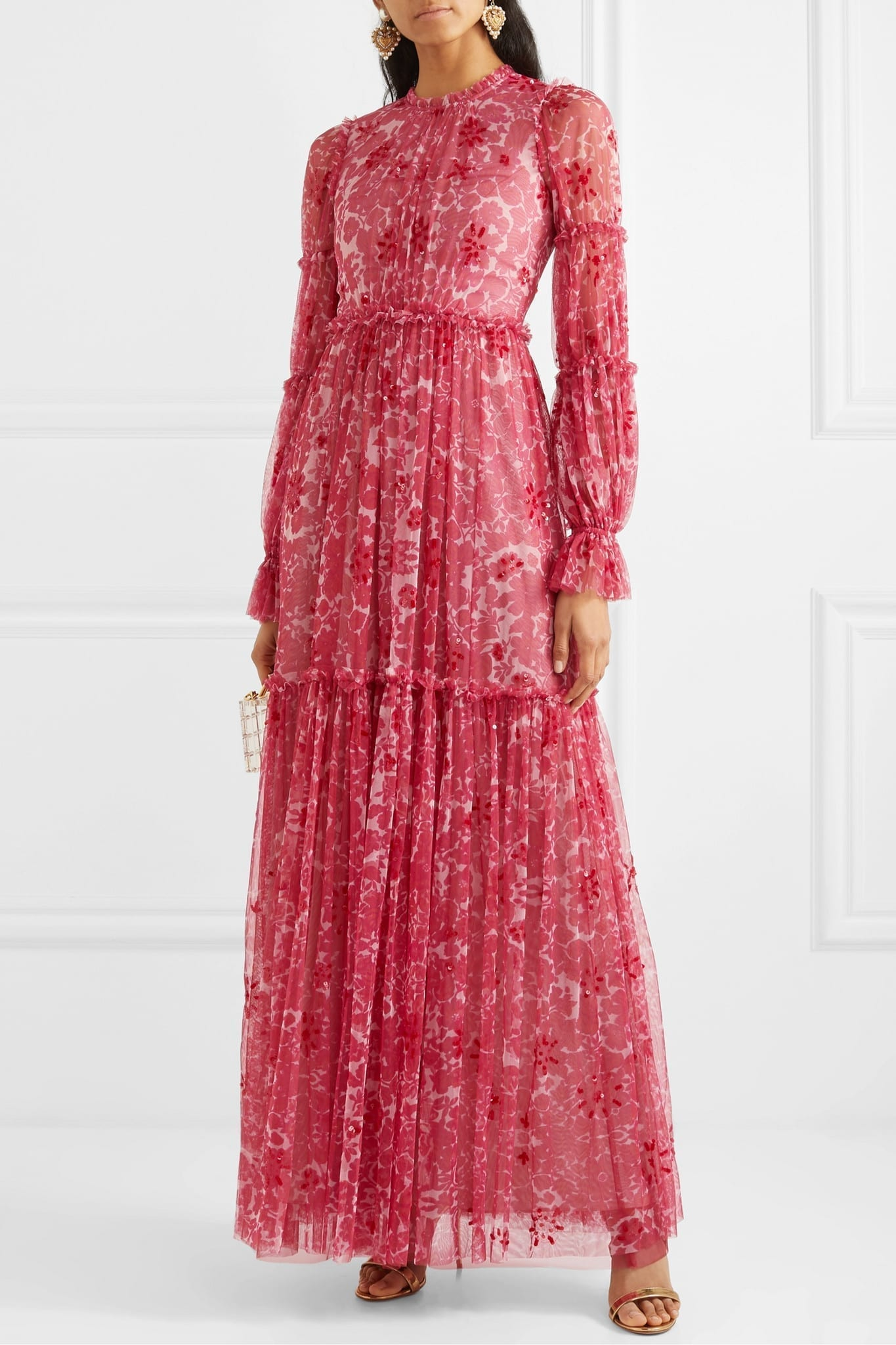 NEEDLE & THREAD Anya Embellished Floral-print Tulle Gown