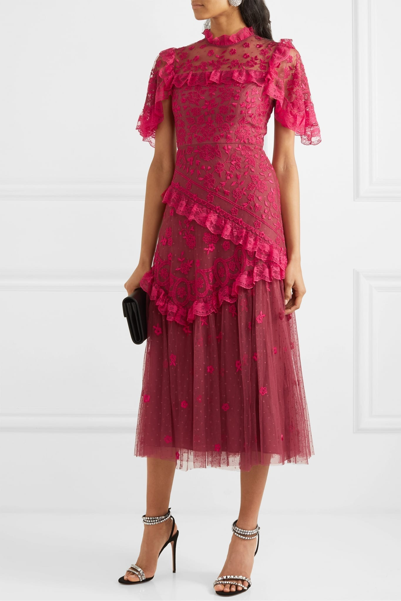 NEEDLE & THREAD Elsa Ballerina Ruffled Lace-trimmed Embroidered Tulle Midi Dress