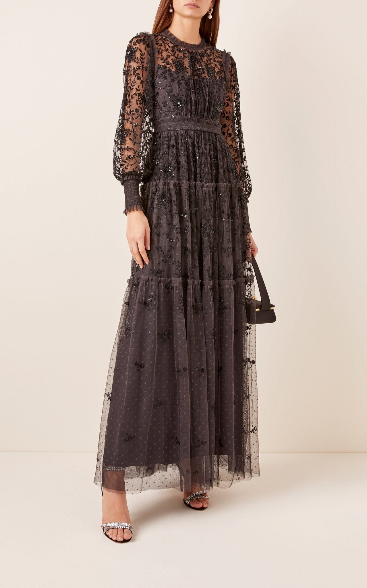 NEEDLE & THREAD Whitethorn Embroidered Gown
