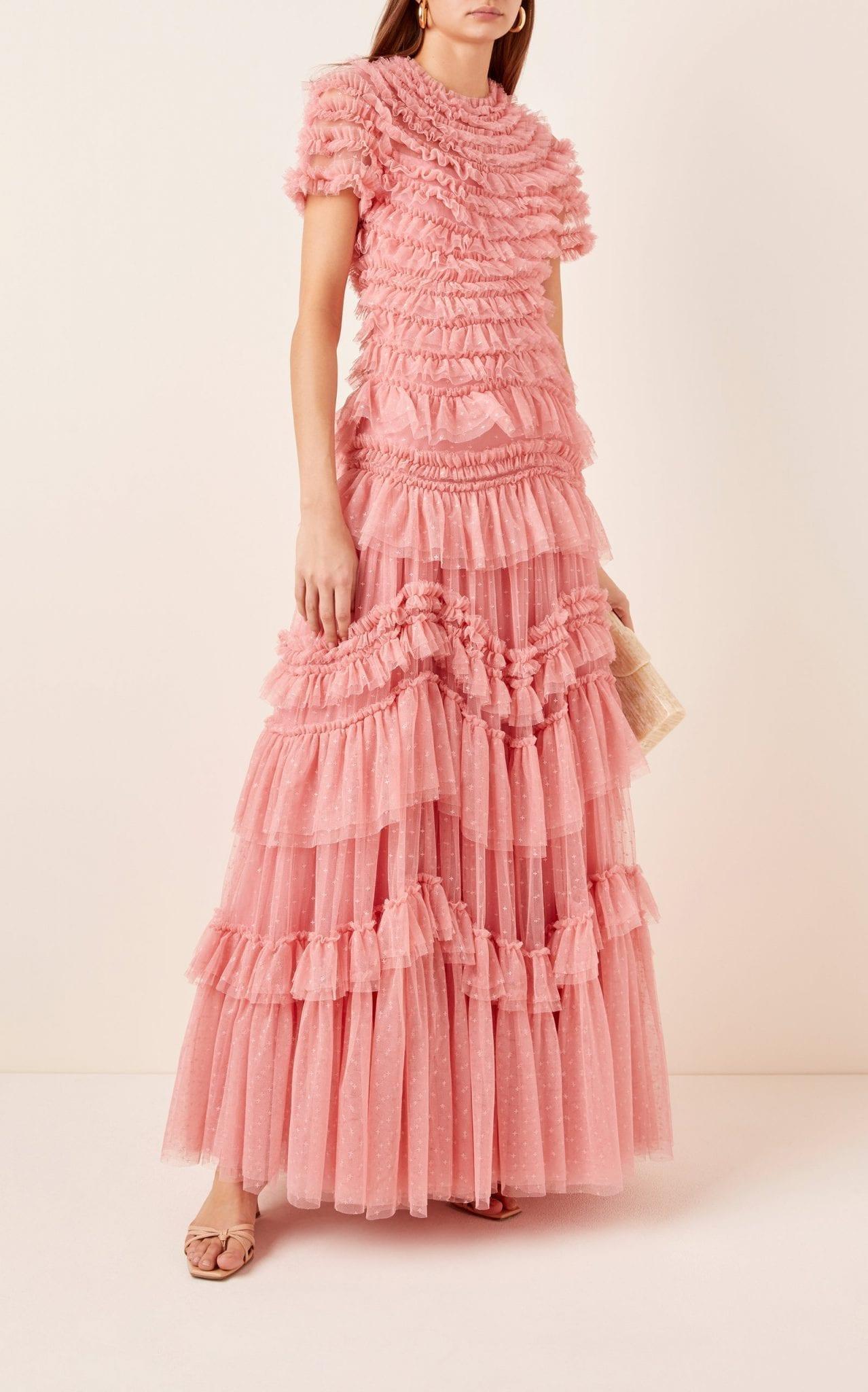 NEEDLE & THREAD Wild Rose Ruffled Chiffon Gown