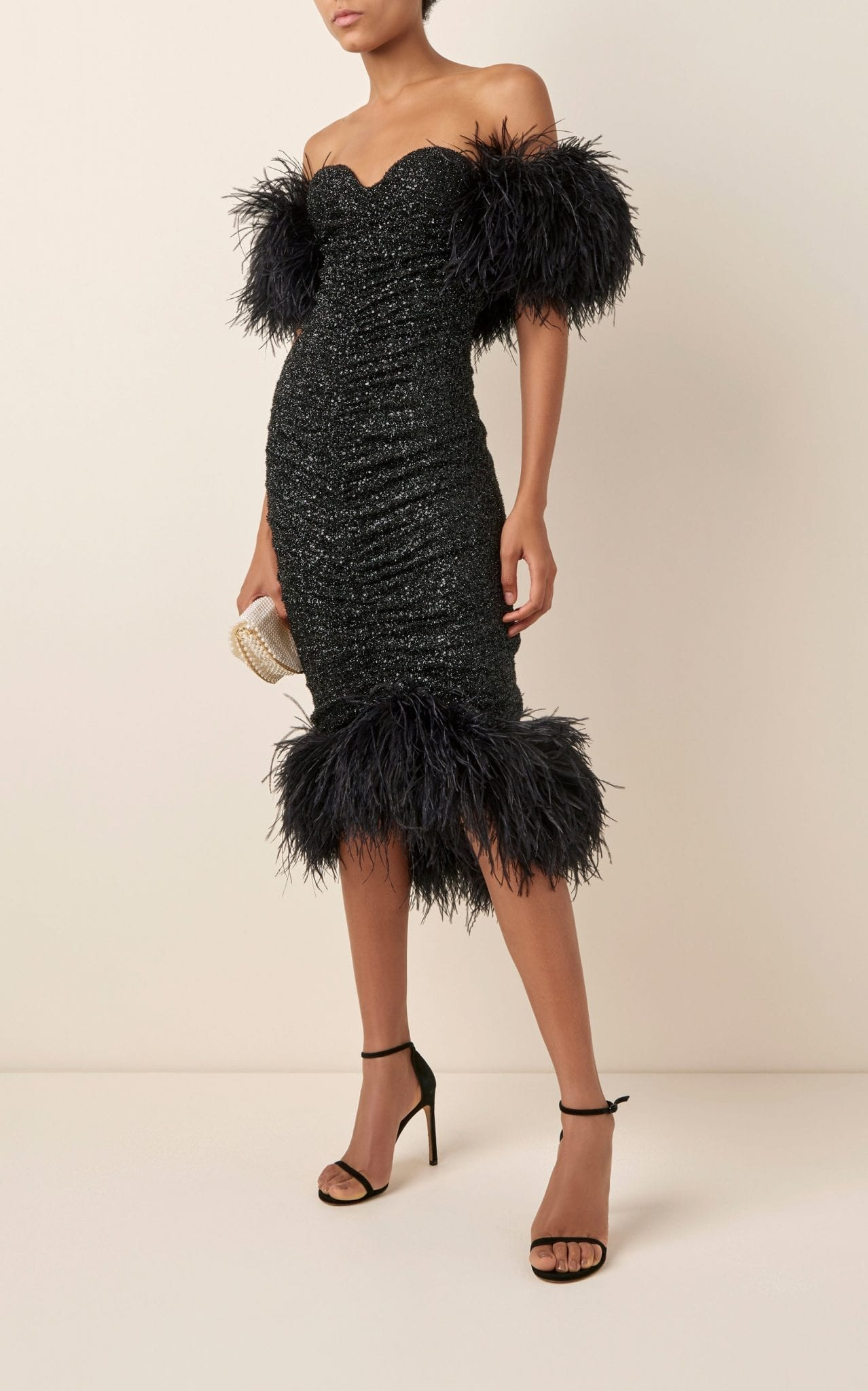 NERVI Luna Feather-Trimmed Sequined Chiffon Midi Dress