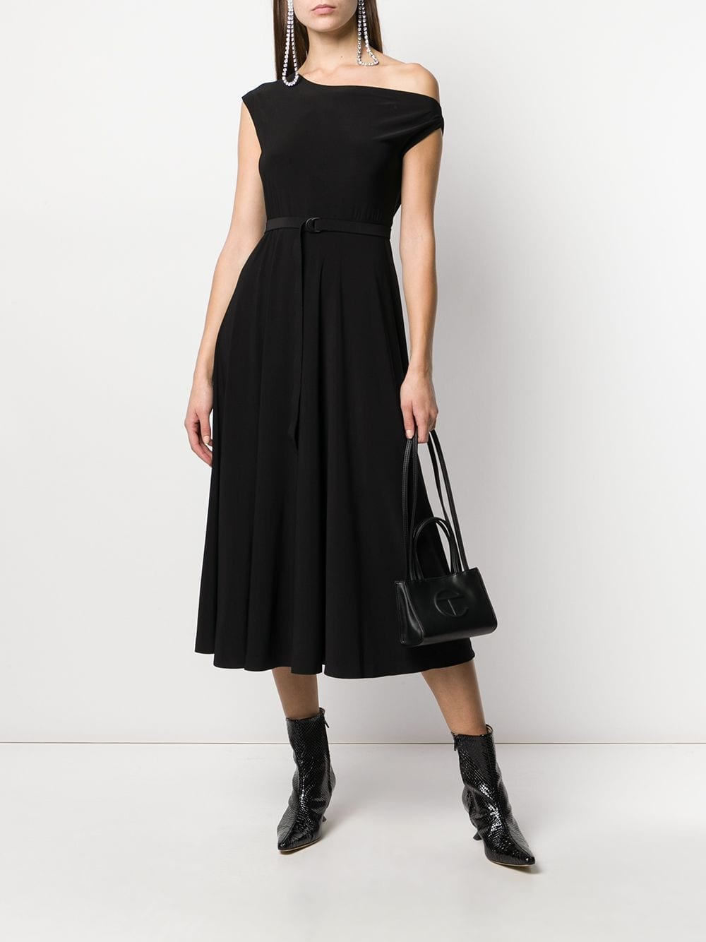 NORMA KAMALI Pleated One Shoulder Dress
