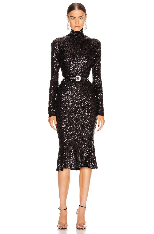 NORMA KAMALI Sequin Long Sleeve Turtleneck Fishtail Dress