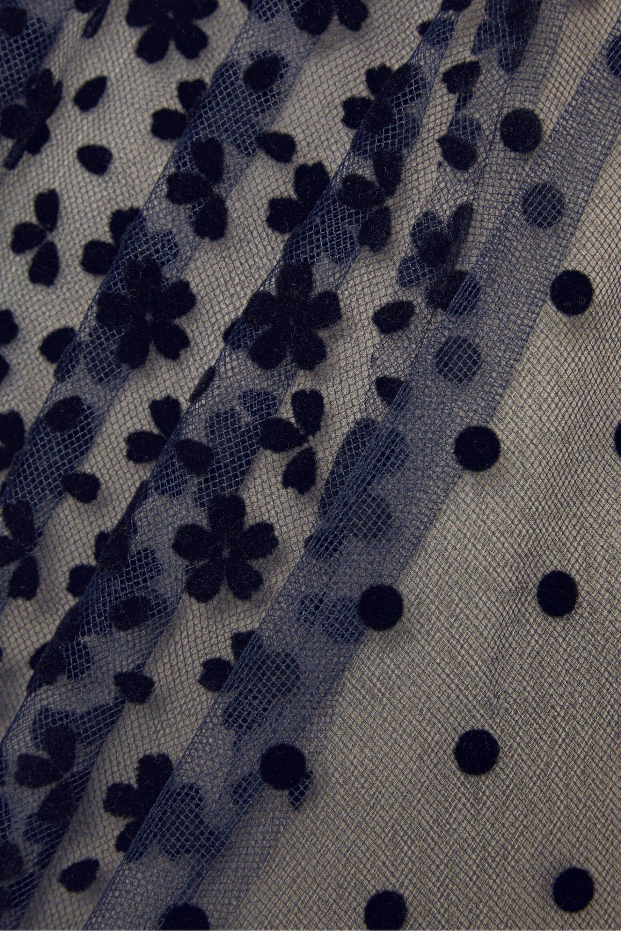 OSCAR DE LA RENTA Strapless Pleated Flocked Tulle Gown