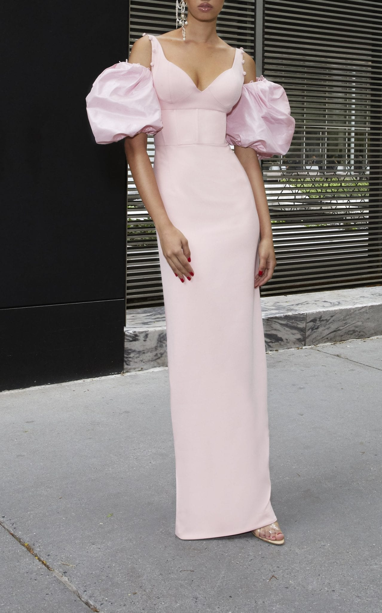 PRABAL GURUNG Satin-Paneled Crepe Gown