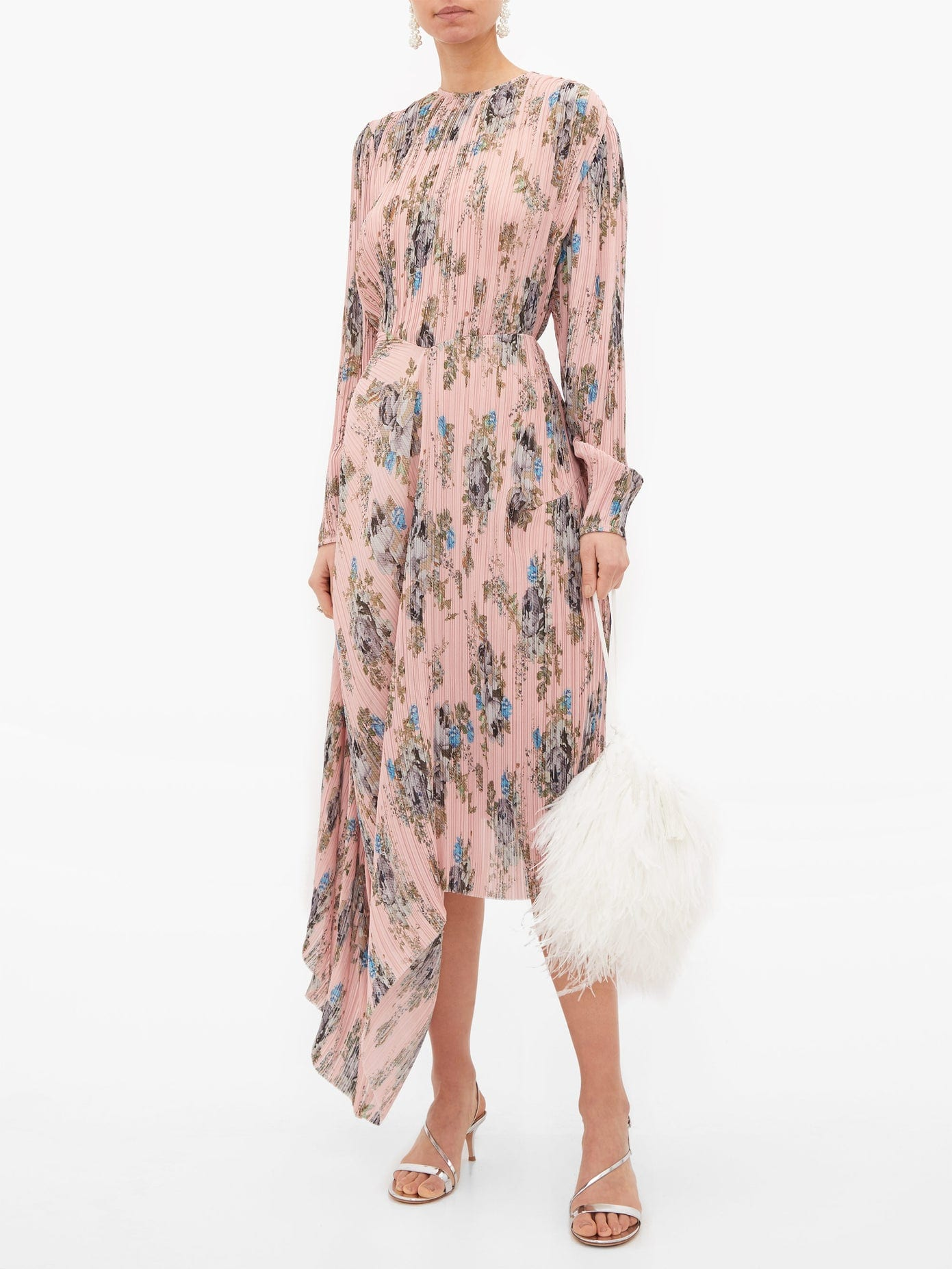 PREEN BY THORNTON BREGAZZI Delaney Asymmetric Floral-print Plissé Dress