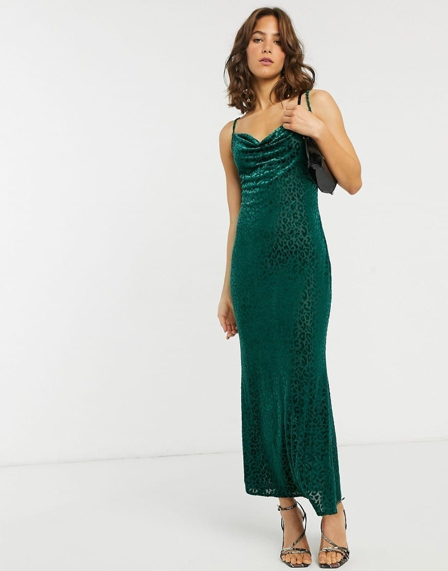 PRETTY LAVISH Velvet Leopard Maxi Cami Dress
