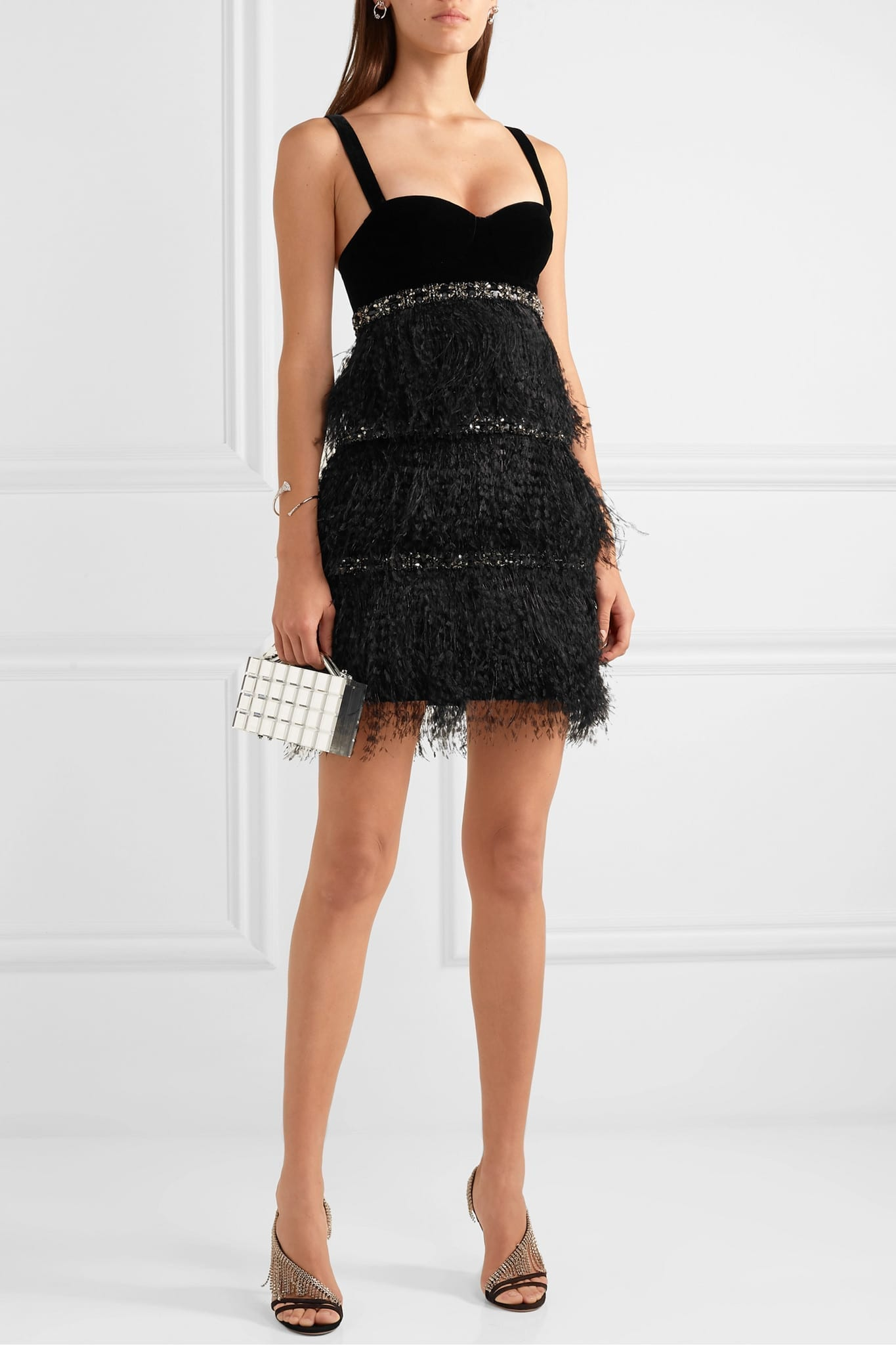 RALPH & RUSSO Embellished Feather-trimmed Velvet And Crepe De Chine Mini Dress