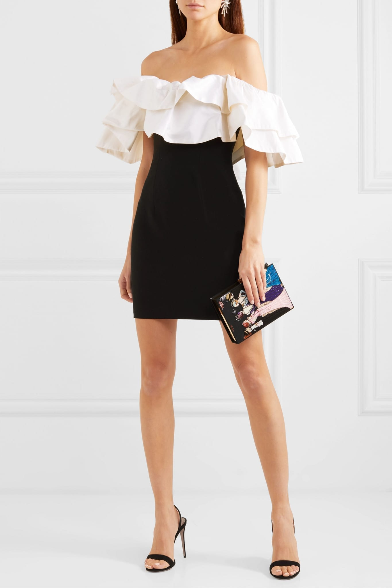 RASARIO Off-the-shoulder Ruffled Dupioni And Crepe Mini Dress