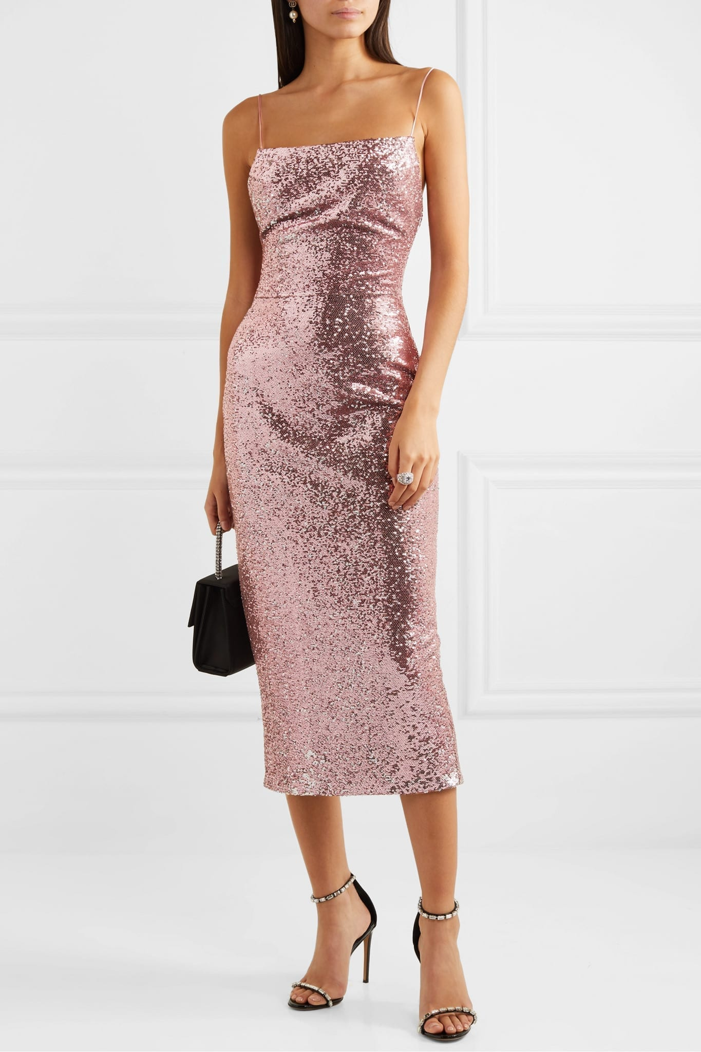 RASARIO Two-tone Sequined Satin Midi Dress