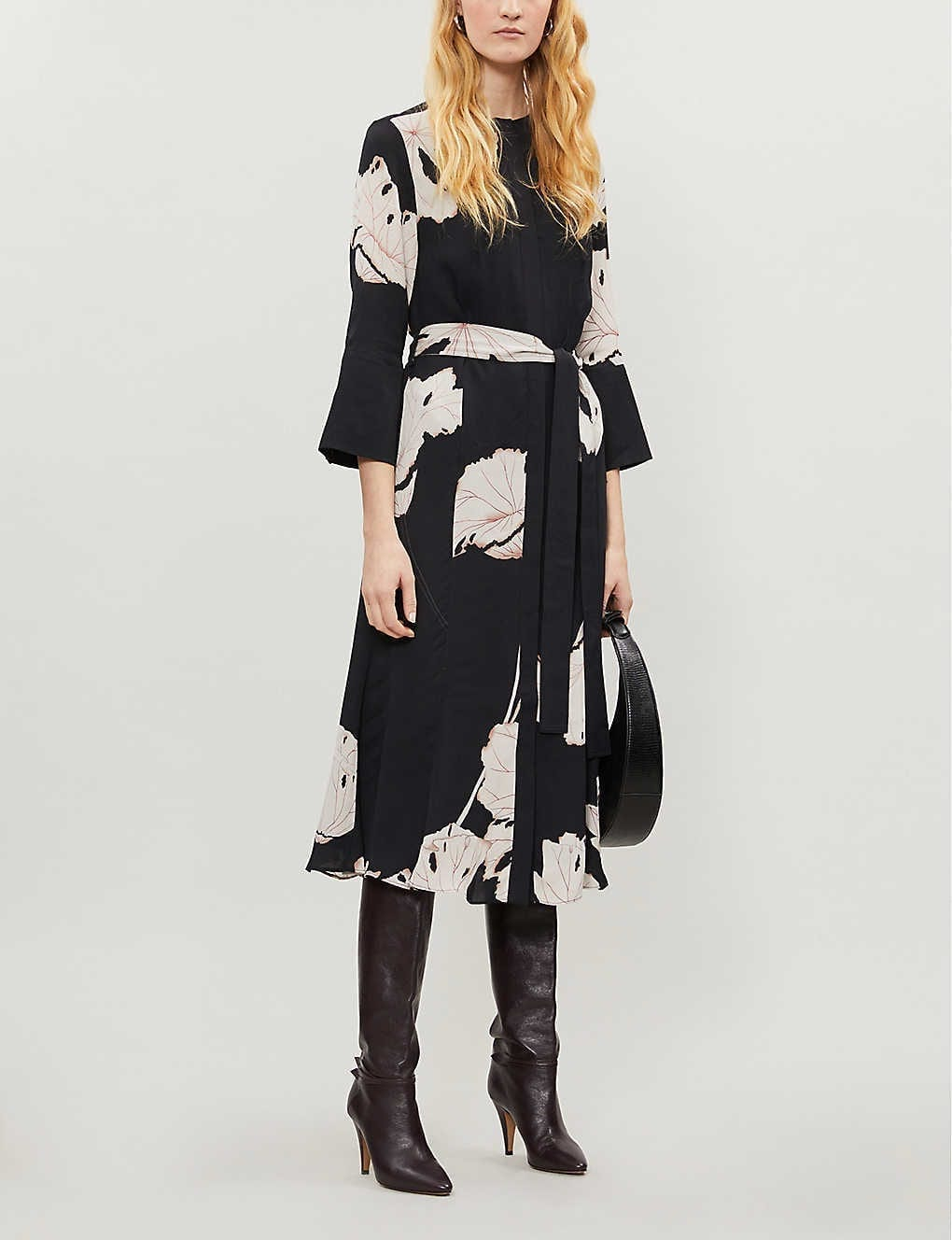 REISS Zana Floral-print Crepe Midi Dress