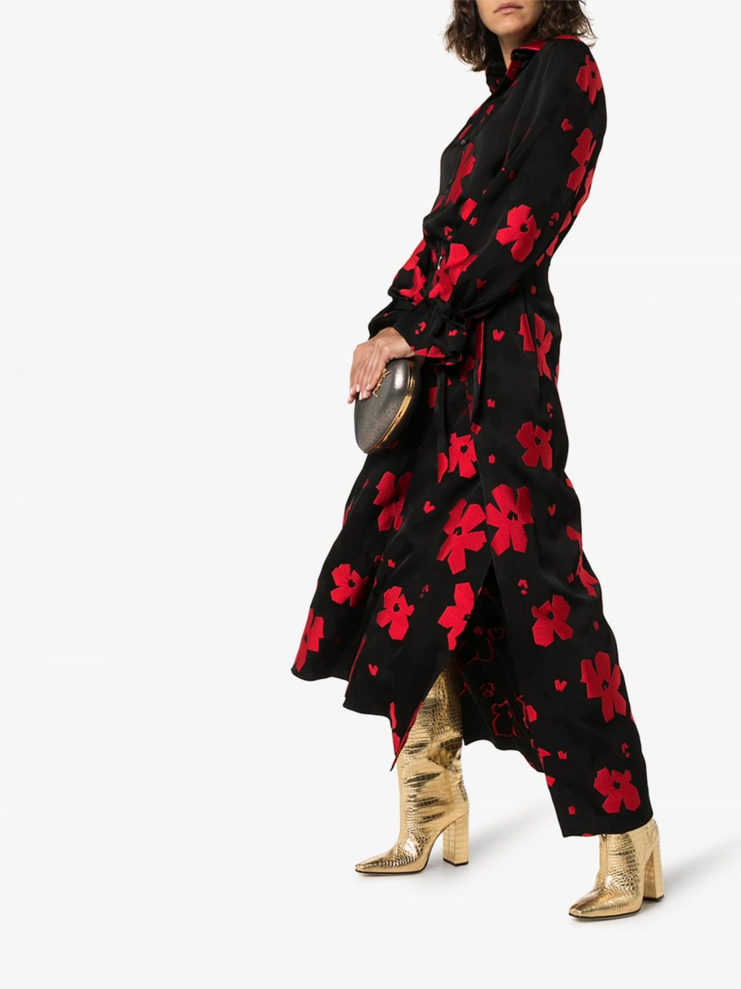 ROLAND MOURET Colada Floral Jacquard Midi Dress
